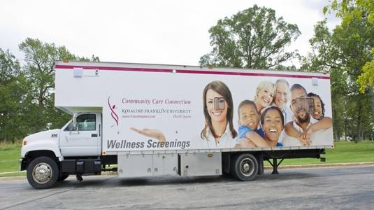 Community Care Connection, Rosalind Franklin University Health System's mobile health unit, will offer its free health screenings at Northern Lake YMCA in Waukegan on Dec. 3 and at Central Lake YMCA in Vernon Hills on Dec. 10 from 4 to 6:30 p.m.