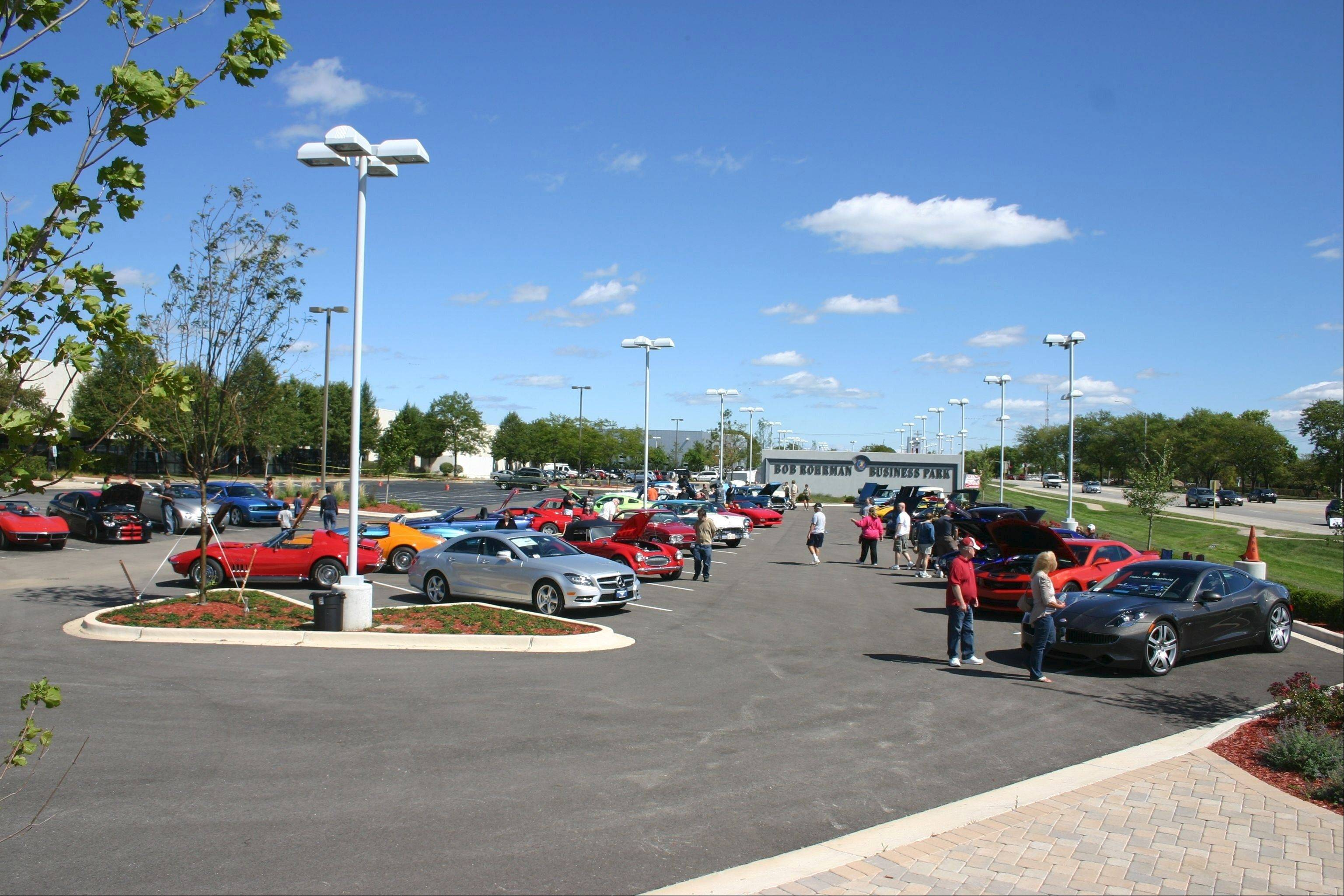 At the Bob Rohrman Business Park, Dundee and Wilke roads, spectators view classic cars during Kevin MacDonald's Eagle Scout Car Show/Food Drive to benefit the food pantry at St. Edna Catholic Church.