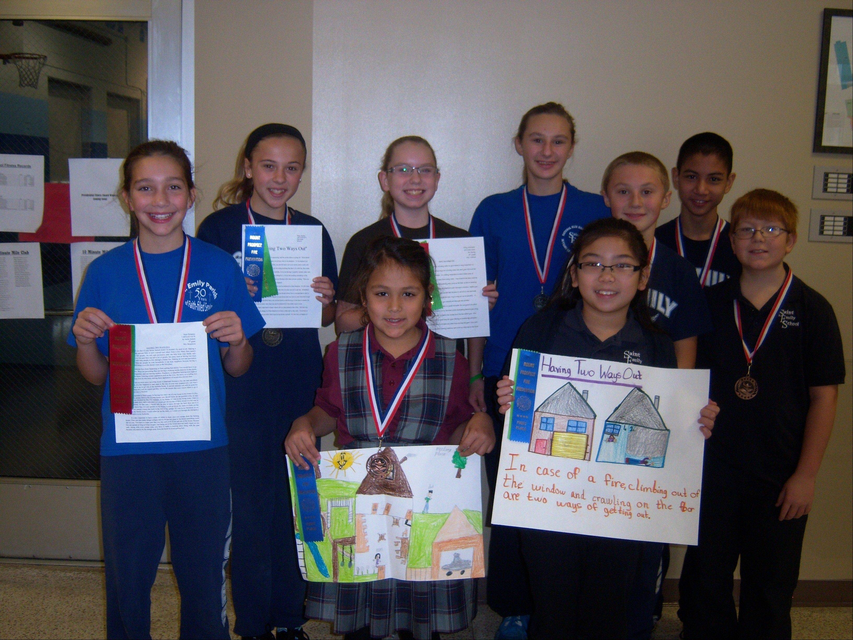 The 2012 Mount Prospect Fire Department Poster/Essay Contest winners from St. Emily School, Mount Prospect.