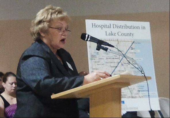 State Rep. JoAnn Osmond speaks in favor of a new hospital in Lindenhurst during a public hearing Thursday.