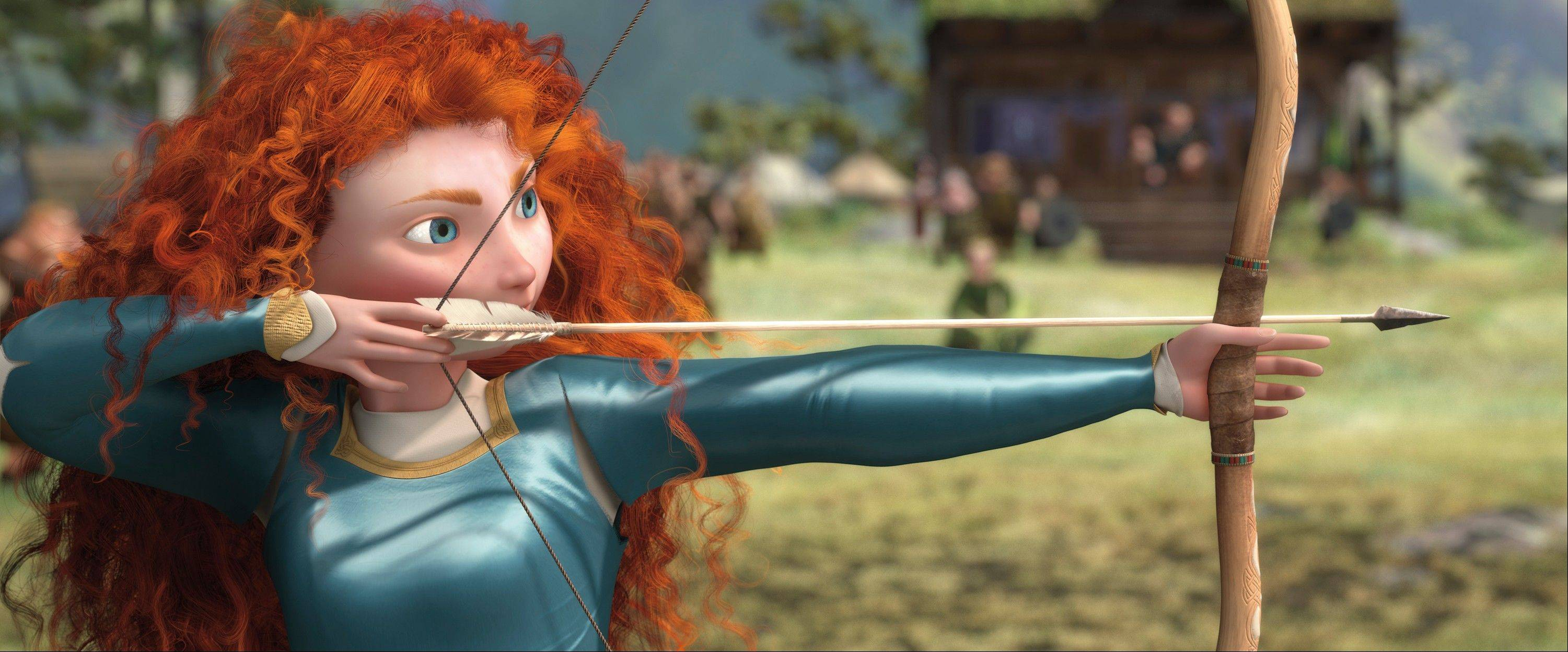 "Merida (voiced by Kelly MacDonald) takes aim in the animated adventure ""Brave."""