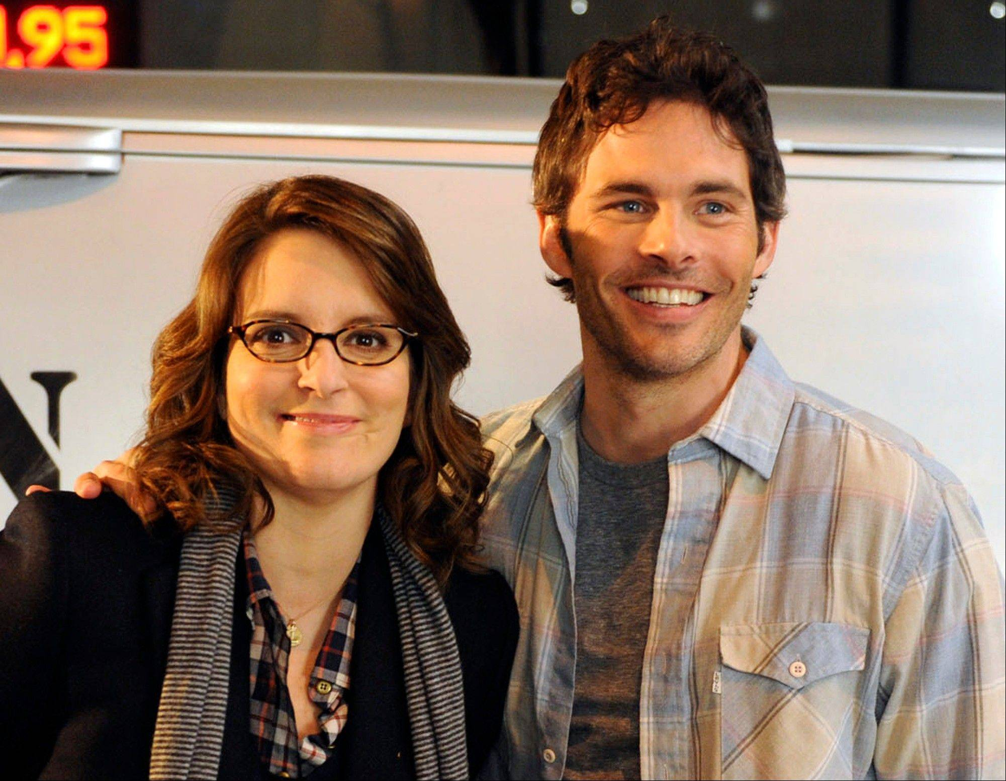 "Tina Fey as Liz Lemon with James Marsden as Criss Chross in the NBC comedy ""30 Rock."" The characters will wed in an episode airing Nov. 29."