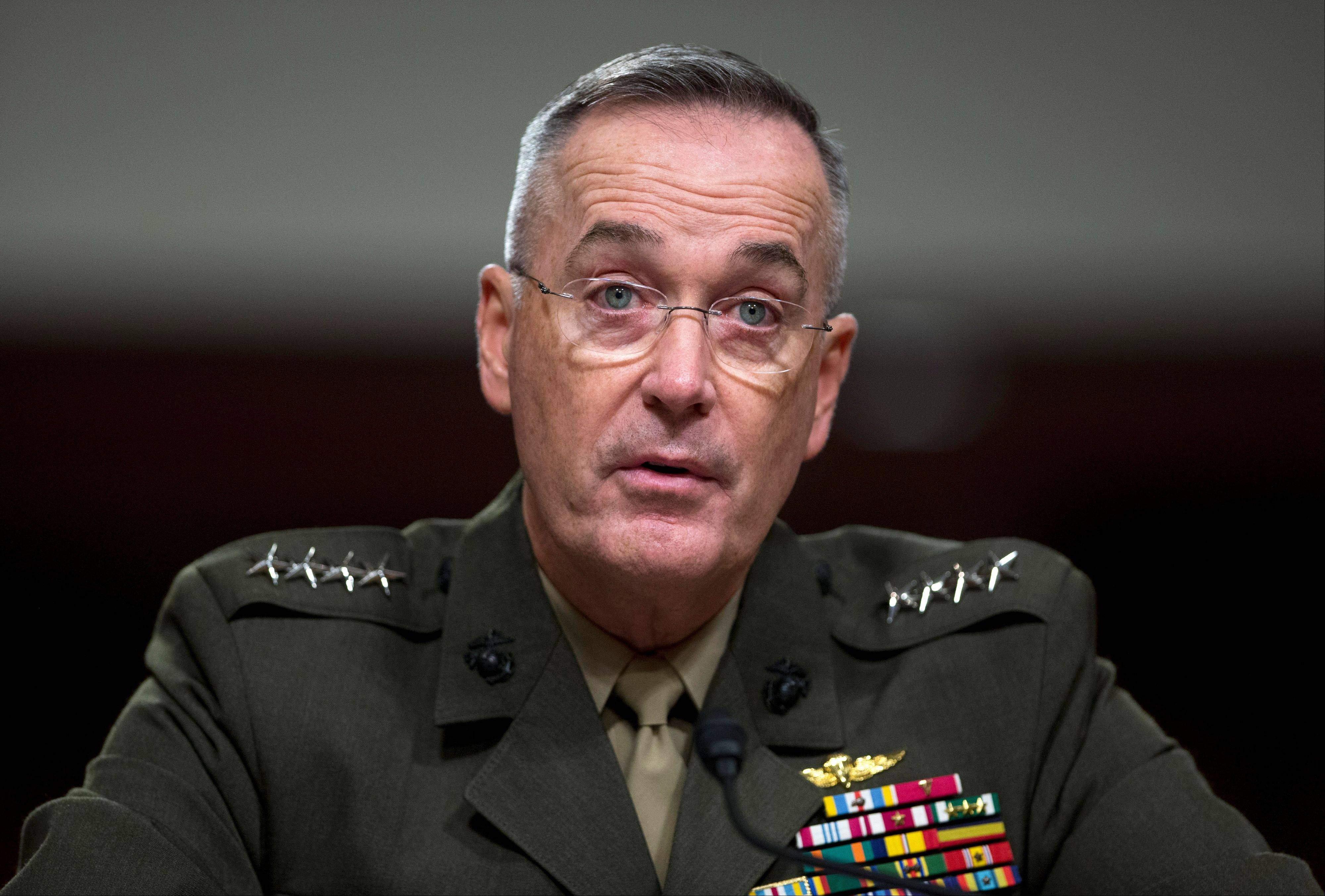 Marine Gen. Joseph Dunford, Jr. testifies on Capitol Hill in Washington Thursday before the Senate Armed Services Committee hearing on his confirmation to be the commander of the International Security Assistance Force and to be commander of the U.S. Forces, Afghanistan. Dunford would replace Gen. John Allen, who is the subject of a Pentagon investigation for potentially inappropriate communications.
