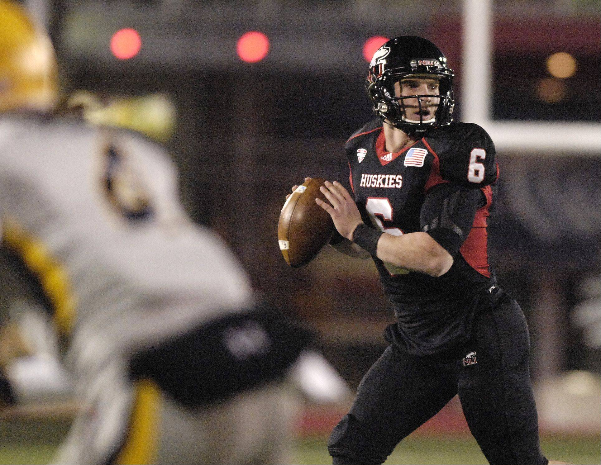 After a slow start in the first half, Northern Illinois University quarterback Jordan Lynch finished with 569 total yards of offense to help the Huskies beat Toledo Wednesday night