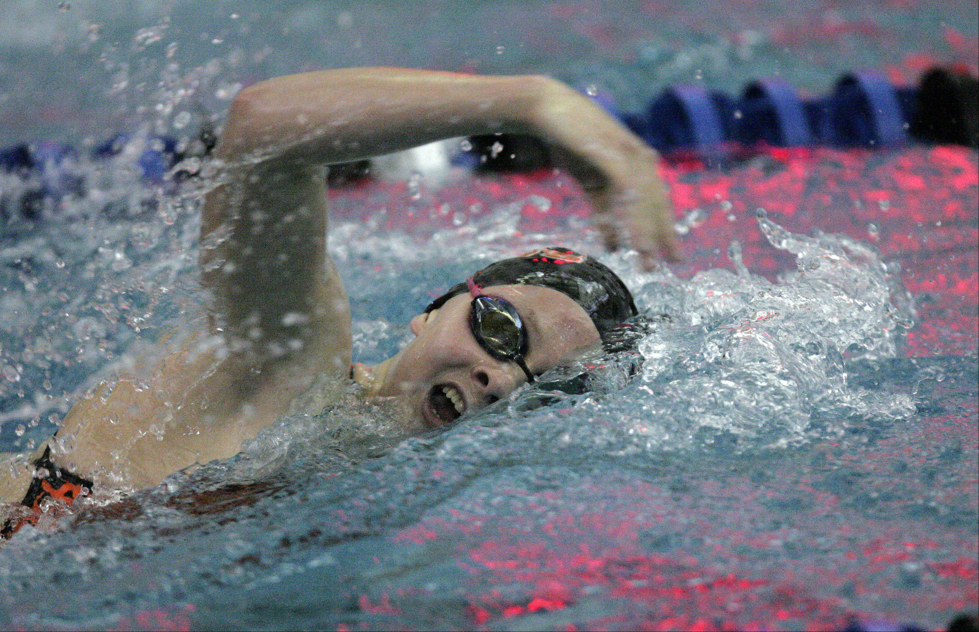 BRIAN HILL/bhill@dailyherald.comMary Snyder of St. Charles East swims the 200 yard freestyle race during the St. Charles North girls swimming sectional Saturday November 10, 2012.