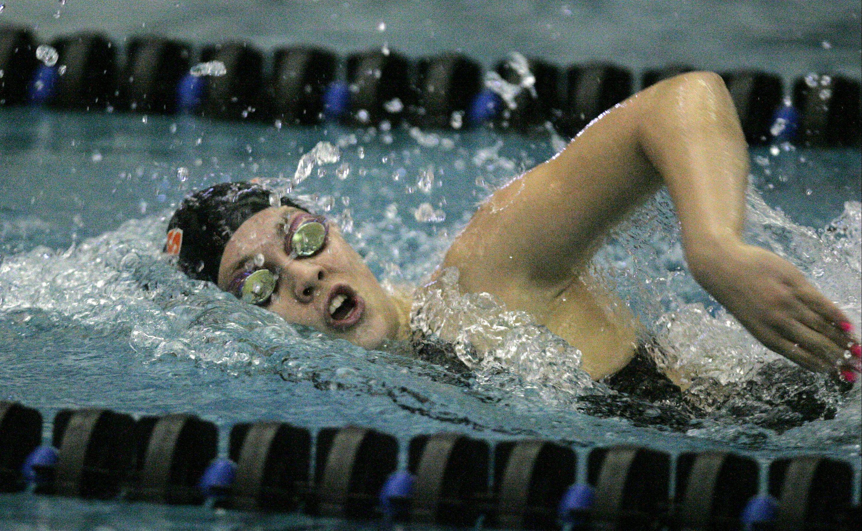 St. Charles East's Izzie Bindseil swims the 200 freestyle last Saturday at the St. Charles North sectional.