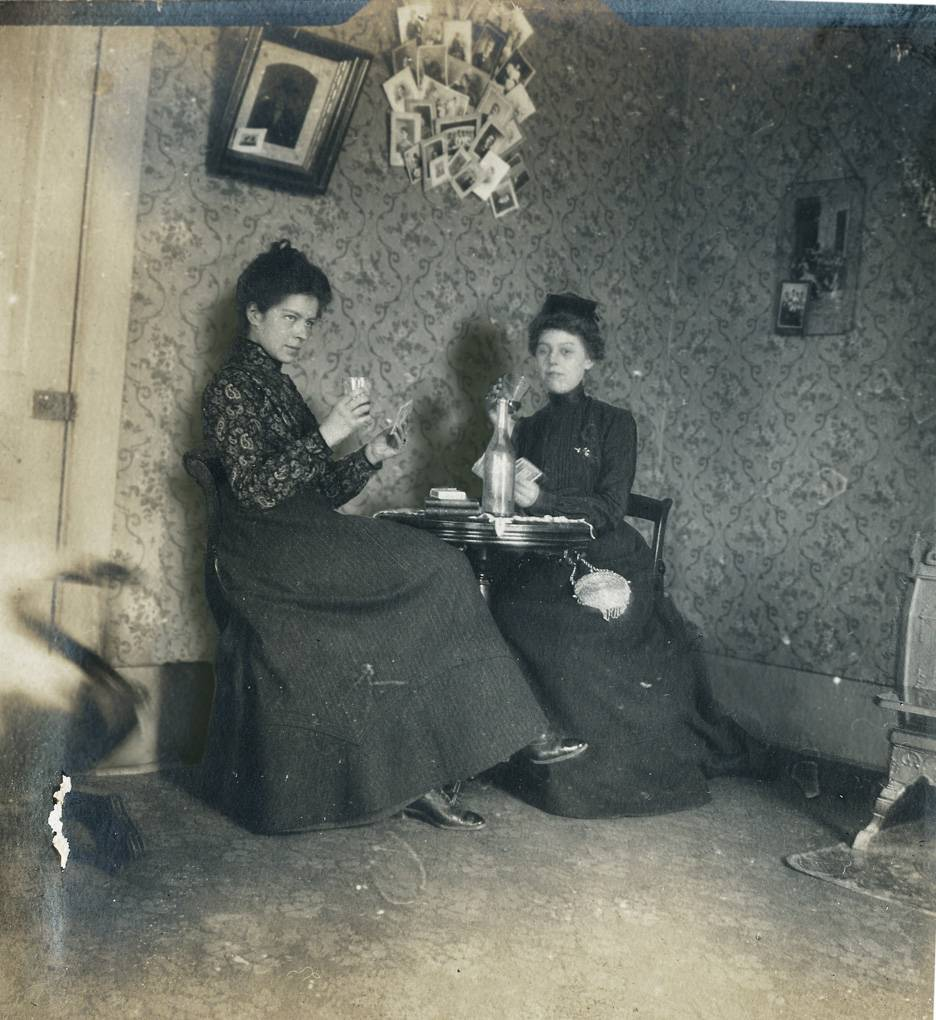 "A photo of Jayne B. Kerr and Clara Schwanecke, dated January, 1902, from the album featured in the music video for The Civil Wars song, ""20 Years."""