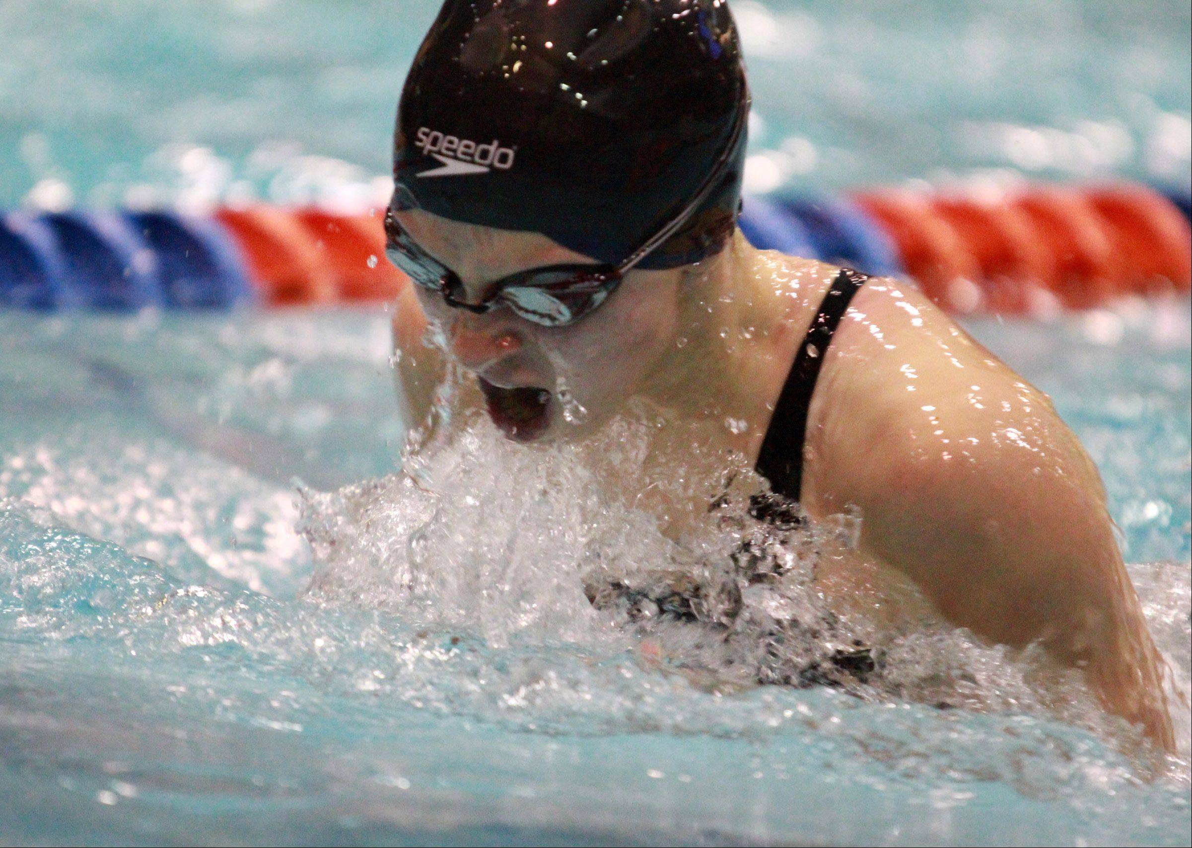 Melissa Rose of Cary-Grove swims the 100-yard breaststroke at the state preliminaries in Evanston on Friday.