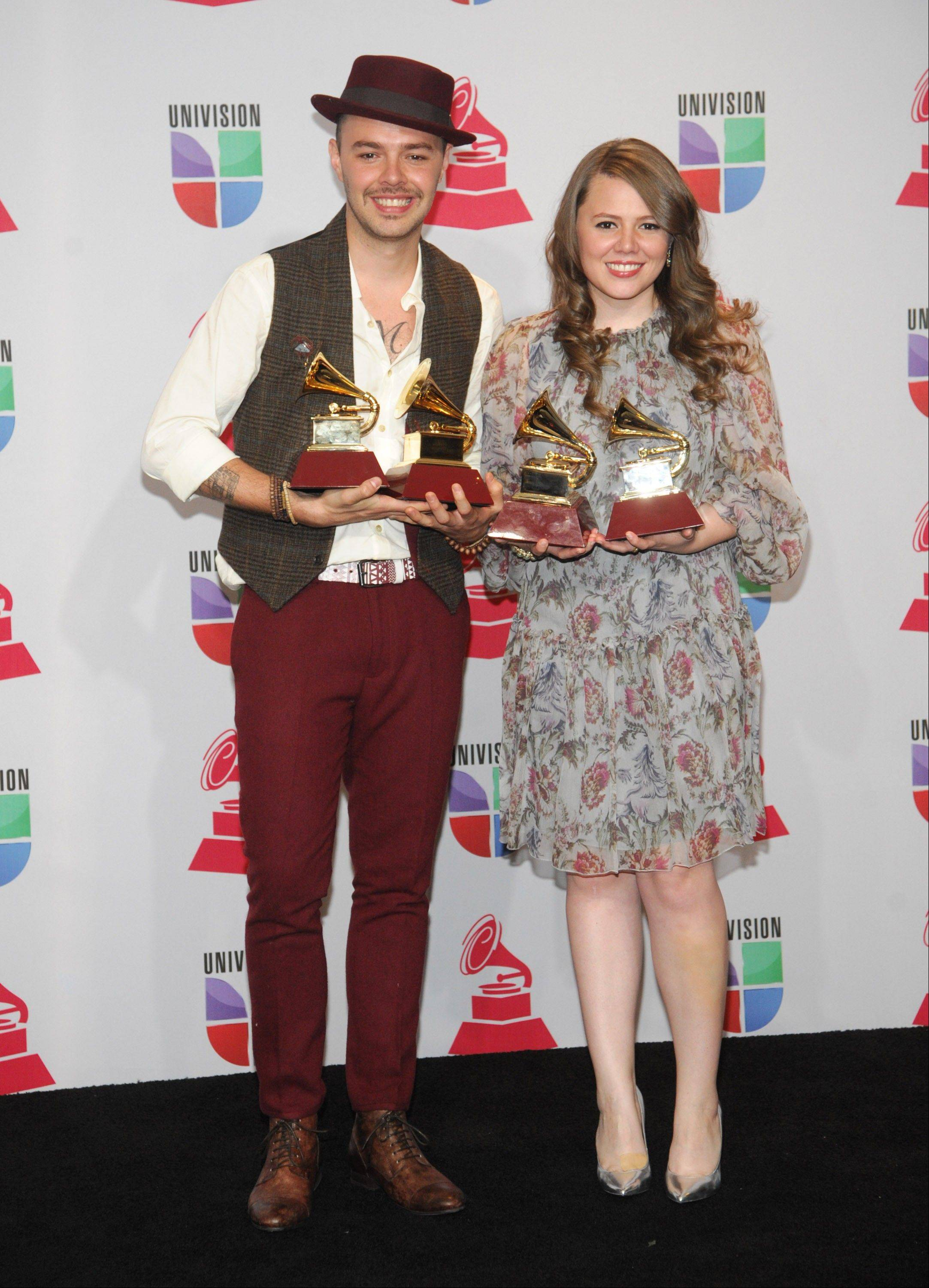 The Mexican brother-sister duo Jesse & Joy won four awards Thursday at the 13th Annual Latin Grammy Awards in Las Vegas.