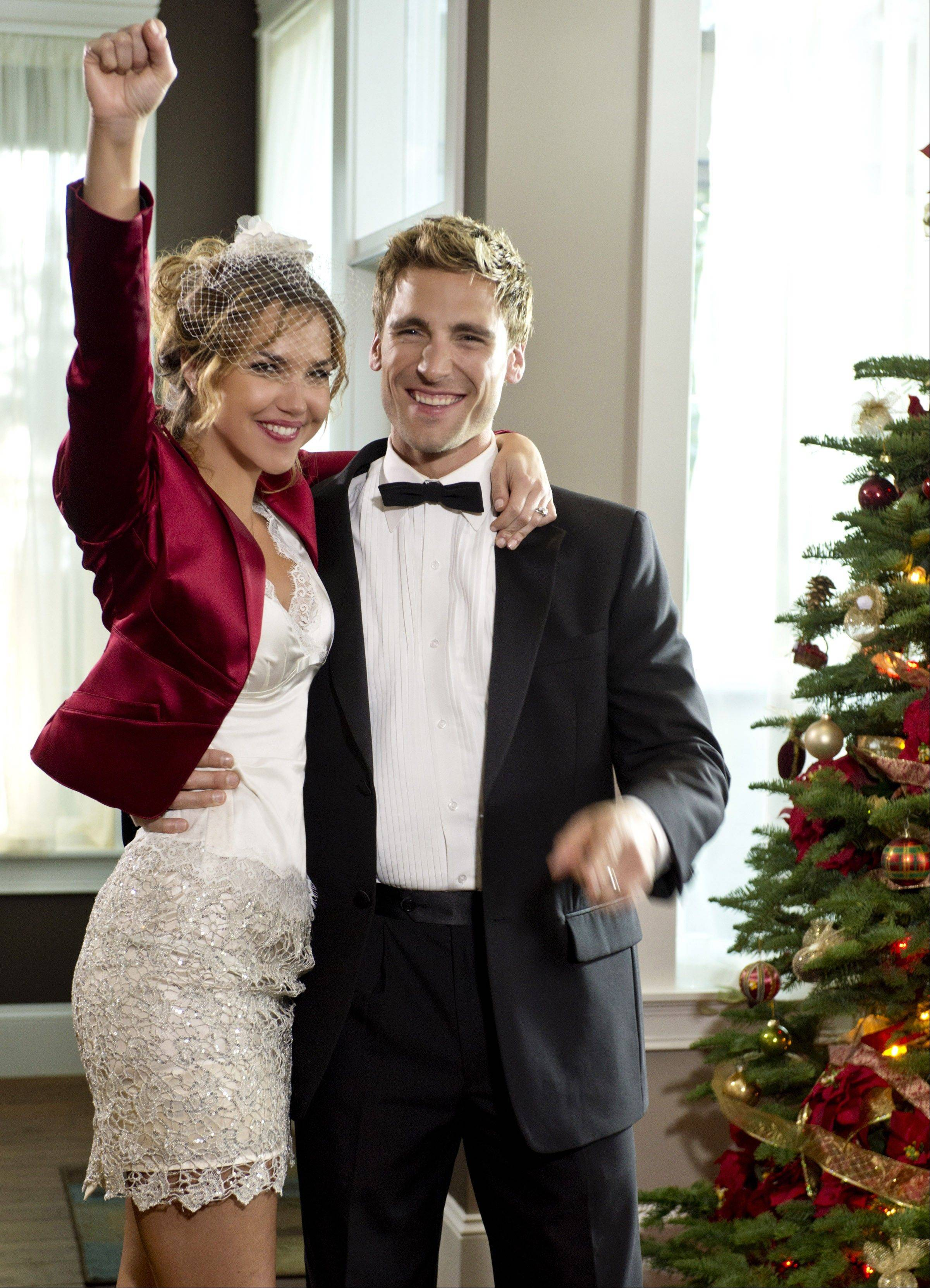 "Arielle Kebbel and Andrew Walker find true love in ""A Bride for Christmas,"" a Hallmark Channel original movie at 7 p.m. Saturday, Dec. 1."