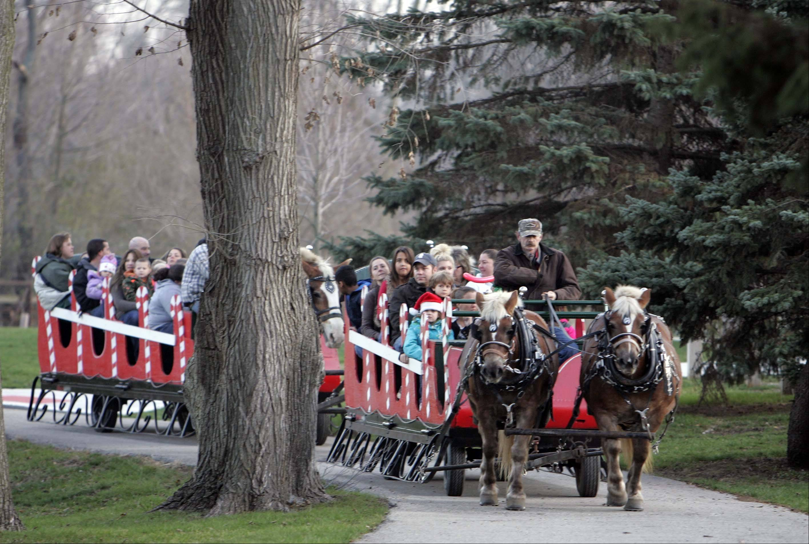 "Horse-drawn sleigh rides make their way through SEBA Park in South Elgin during ""An Almost Winter Day"" on Saturday."