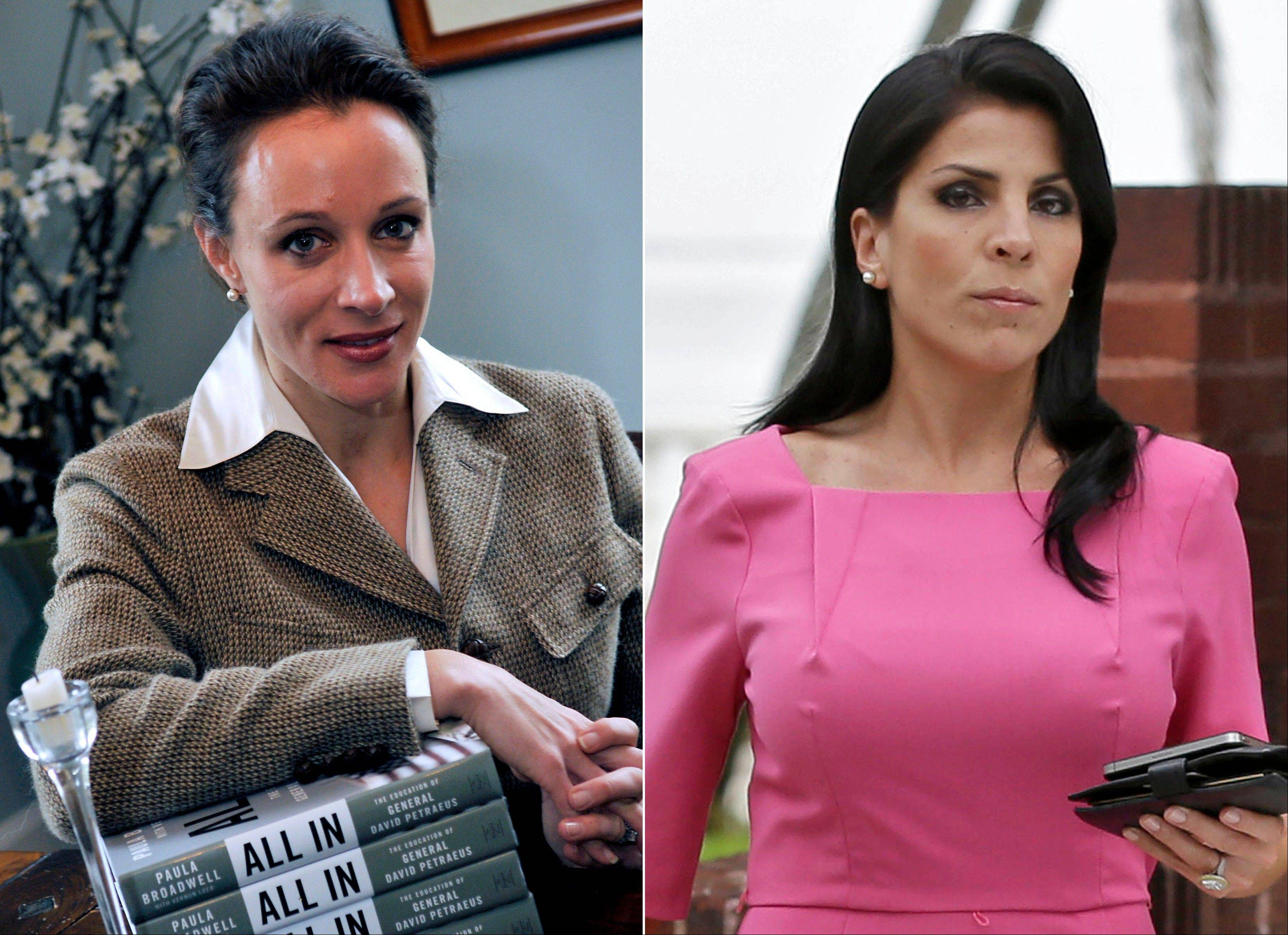 This combo made from file photos shows Gen. David Petraeus' biographer and paramour Paula Broadwell, left, and Florida socialite Jill Kelley. Broadwell and Kelley, the two women at the center of David Petraeus' downfall as CIA director, visited the White House se