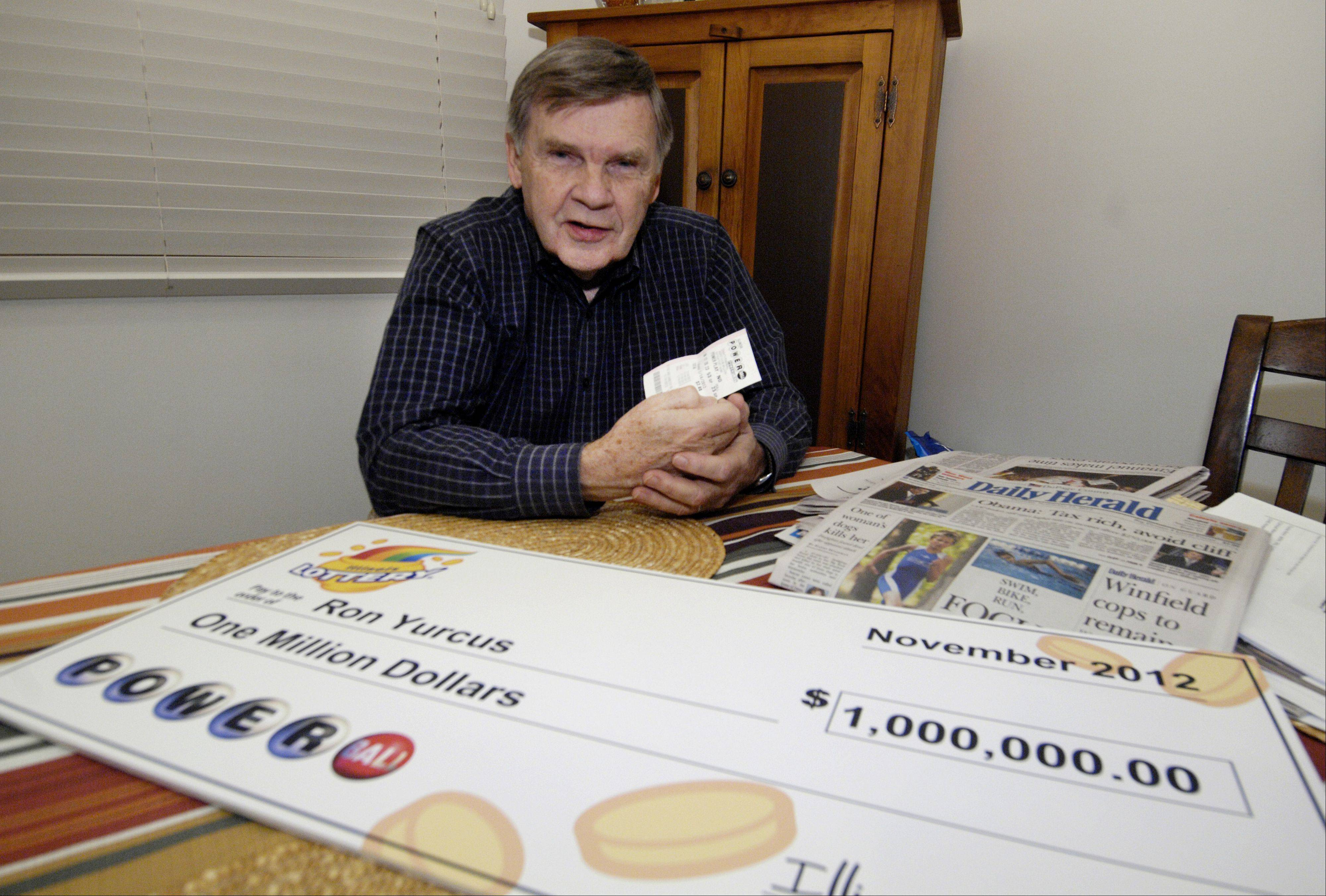 Ron Yurcus of Glen Ellyn won $1 million by matching five of the six numbers on a Powerball ticket. Yurcus found the two-month-old ticket while cleaning up his desk.