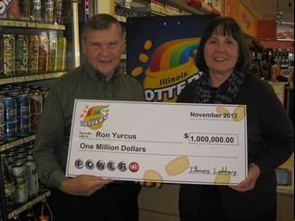 Ron Yurcus and wife Kathy are celebrating their $1 million Powerball winnings after he discovered the Aug. 22 winning ticket while cleaning out his desk this week.