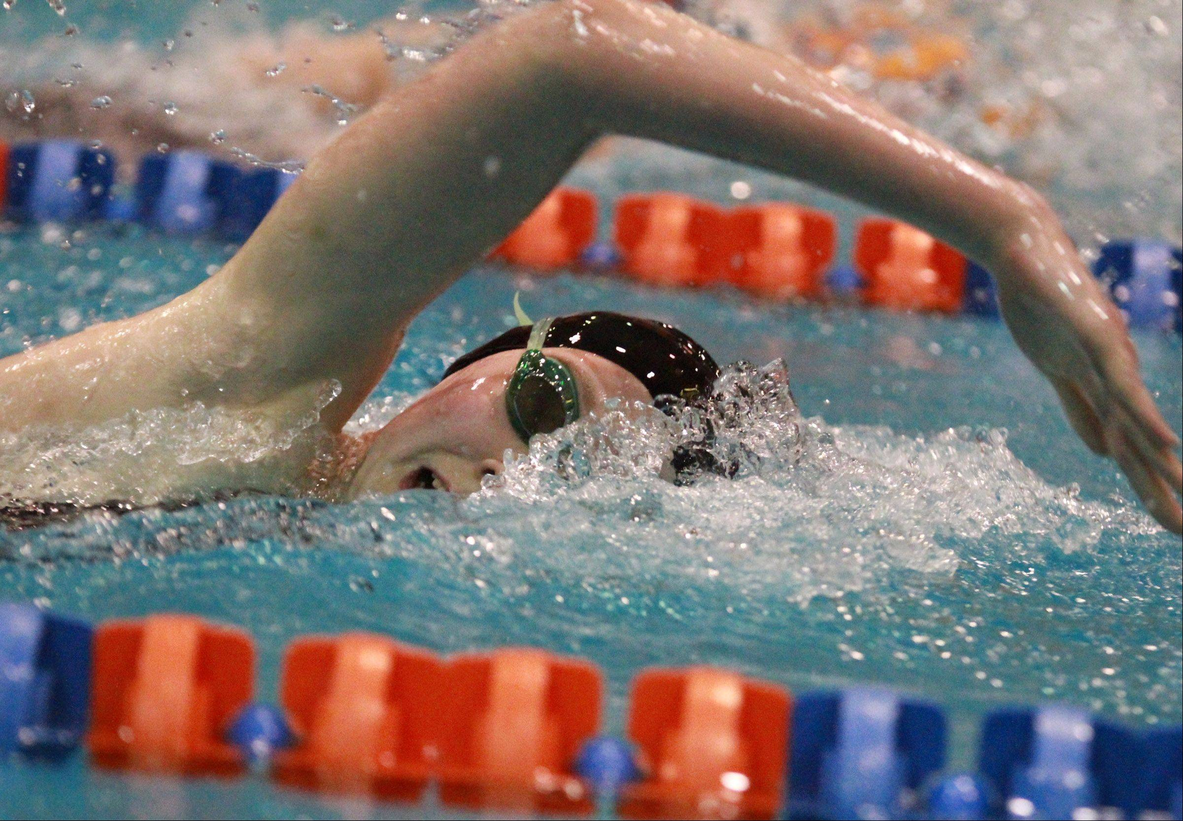 Barrington's Kirsten Jacobsen finished fourth in the 200-yard freestyle at the state meet preliminaries in Evanston on Friday.