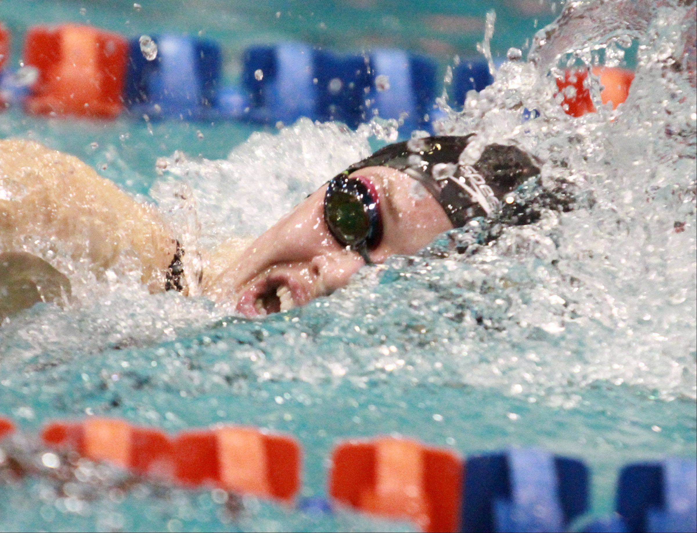 Hersey's Amanda Petro finished seventh in the 200-yard individual medley at state preliminaries in Evanston on Friday.