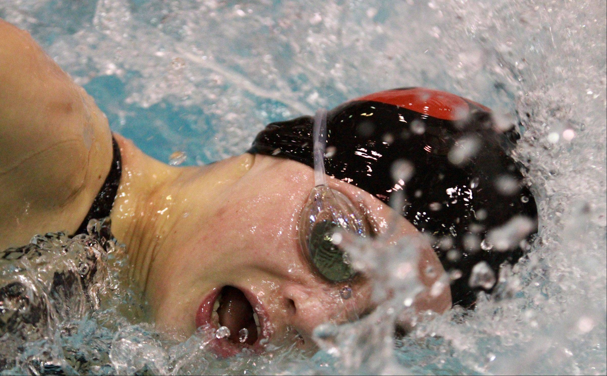 Barrington's Emma Barnett placed fifteenth in the 500-yard freestyle at the state preliminaries in Evanston on Friday.