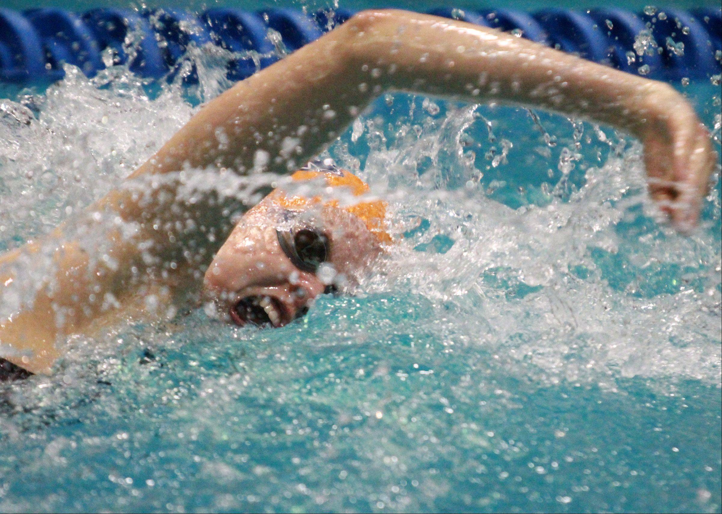 Veronika Jedryka with Buffalo Grove placed fifth in the 100-yard freestyle at the state meet preliminaries in Evanston on Friday.