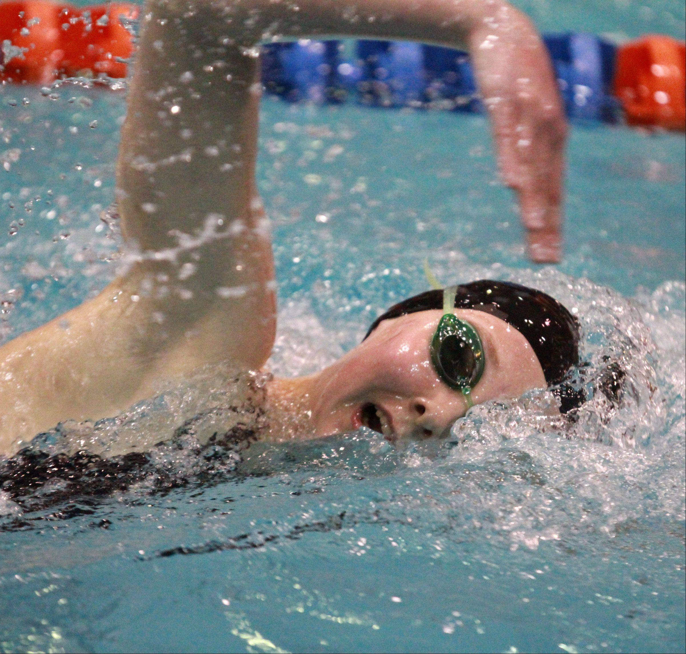 Kirsten Jacobsen of Barrington placed fourth in the 500-yard freestyle at state preliminaries in Evanston on Friday.