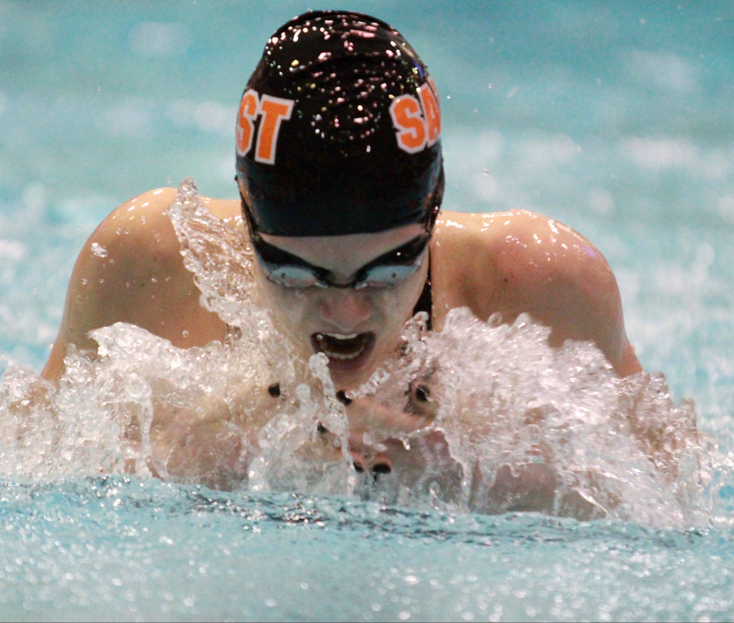 St. Charles East's Shea Hoyt swims the 100-yard breaststroke at the state preliminaries in Evanston on Friday.