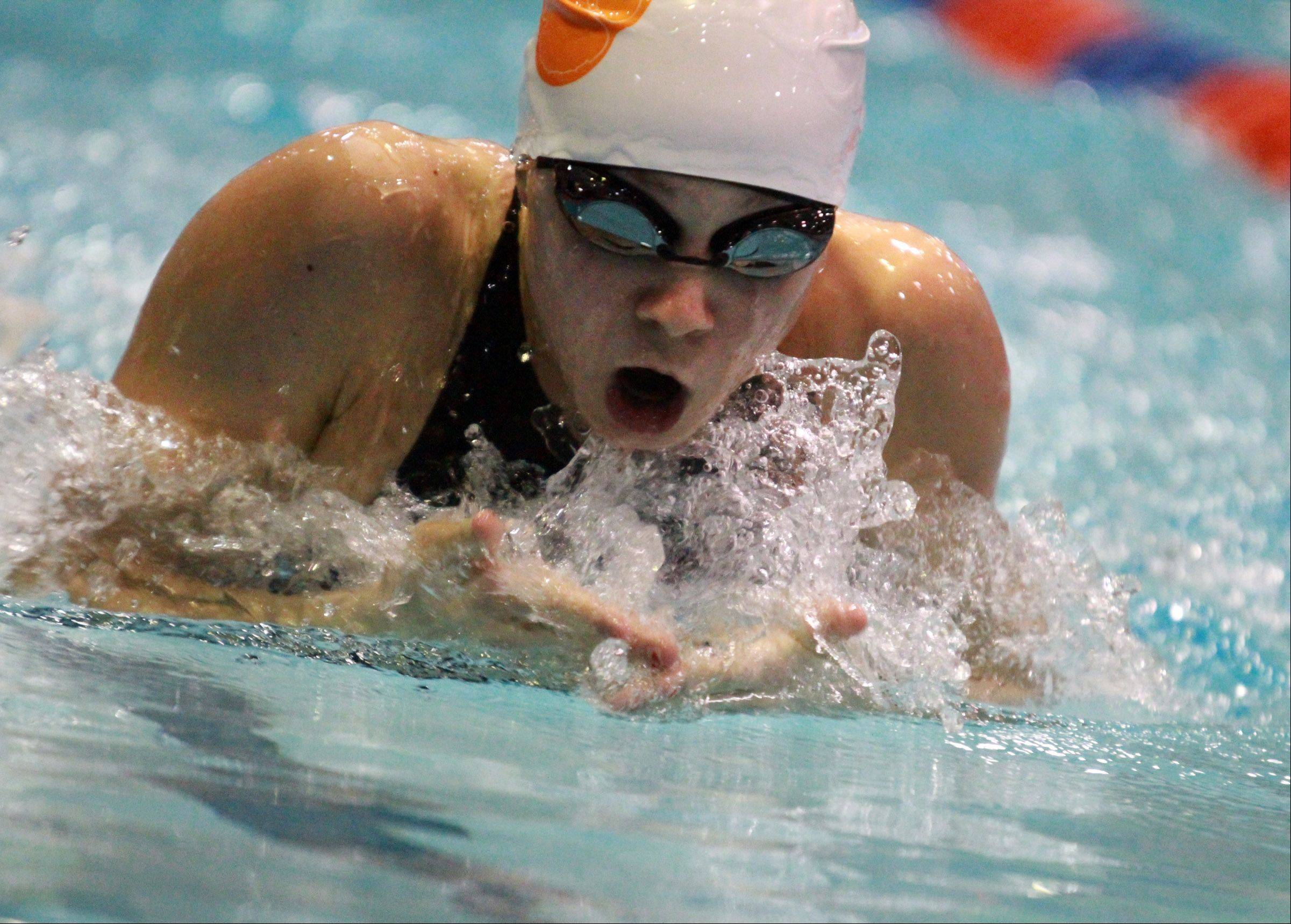 Macey Neubauer of Libertyville swims the 100-yard breaststroke in the state meet preliminaries in Evanston on Friday.