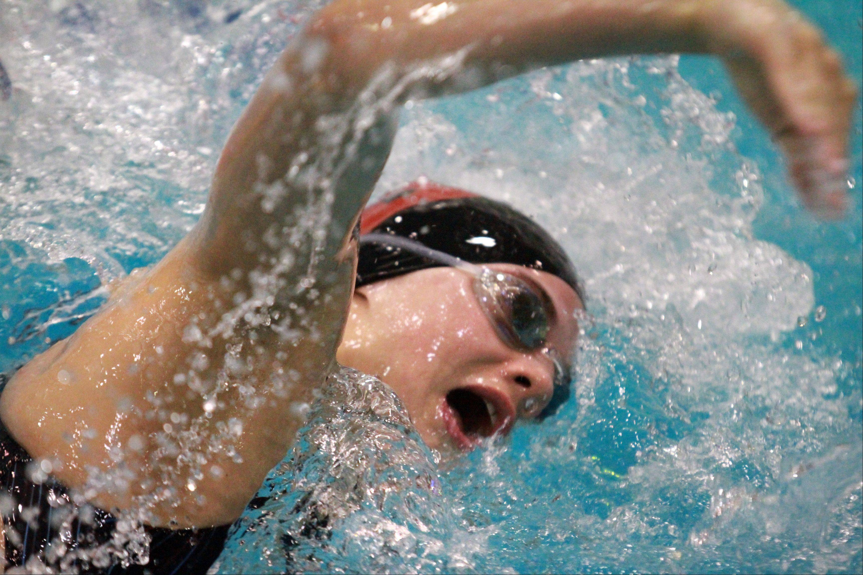 Emma Barnett of Barrington placed fifteenth in the prelims of the 500-yard freestyle.