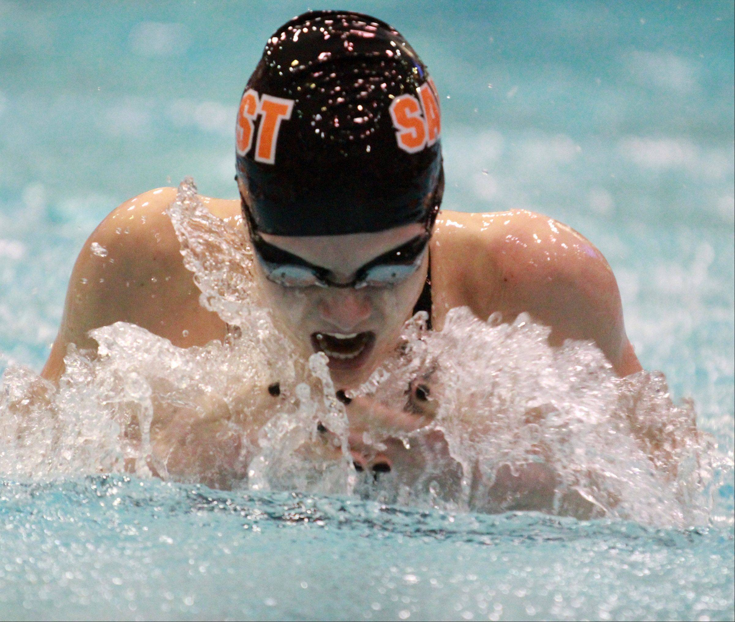 Shea Hoyt of St. Charles East swims the 100-yard breaststroke.
