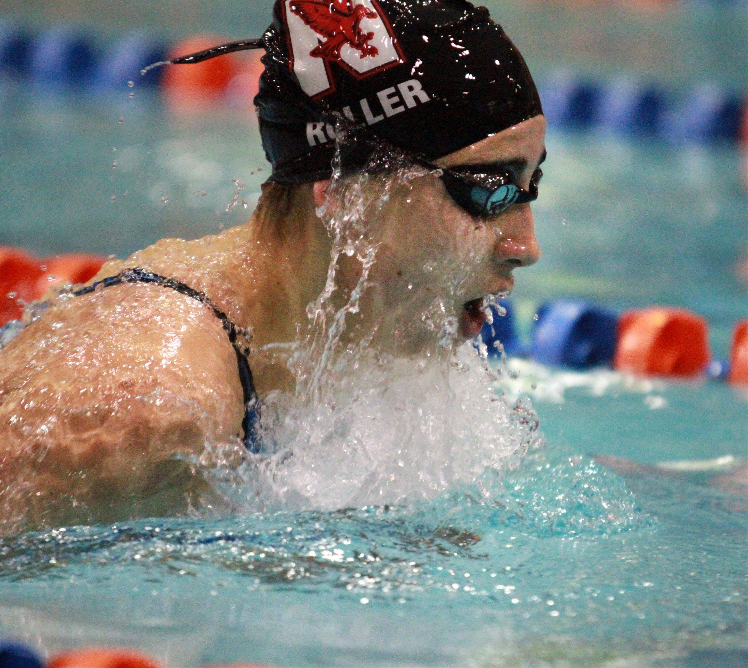 Julia Roller of Naperville Central finished fourth in her heat of the 200-yard individual medley.