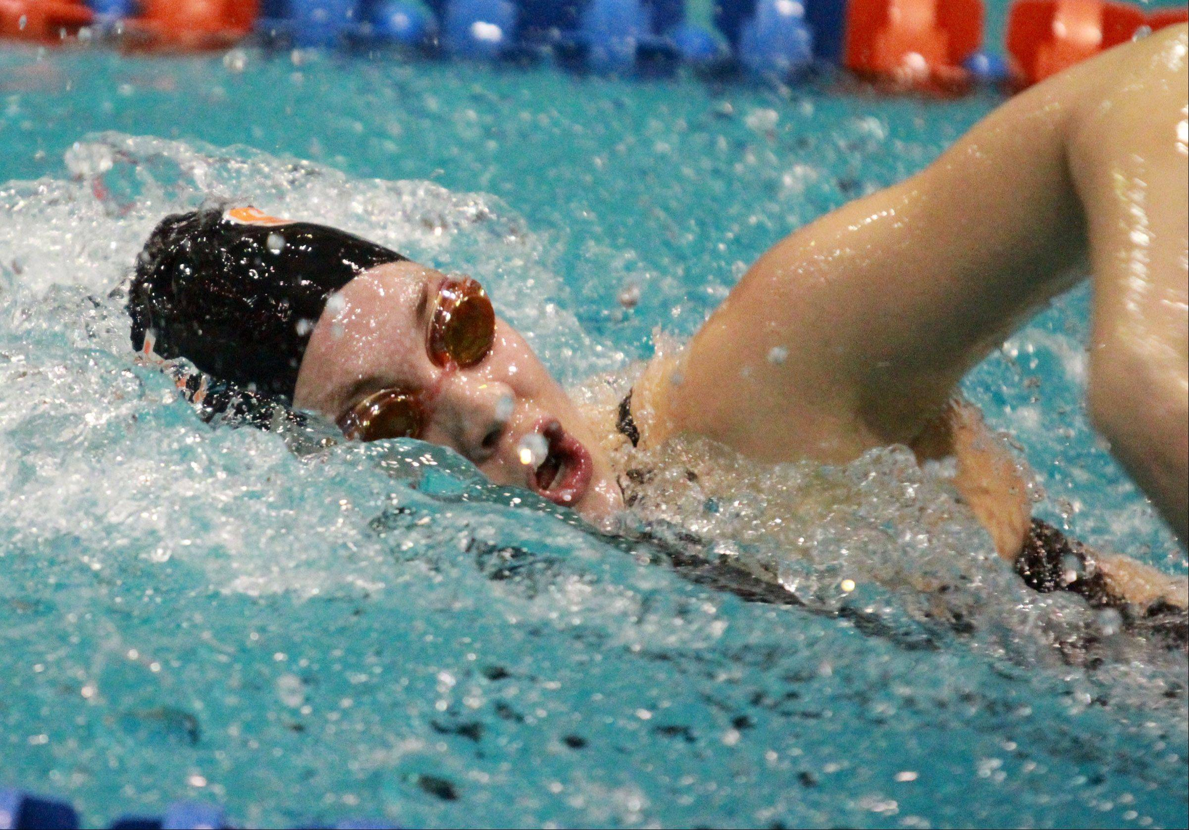 Izzie Bindseil of St. Charles East finished fifteenth in the prelims of the 200-yard freestyle.