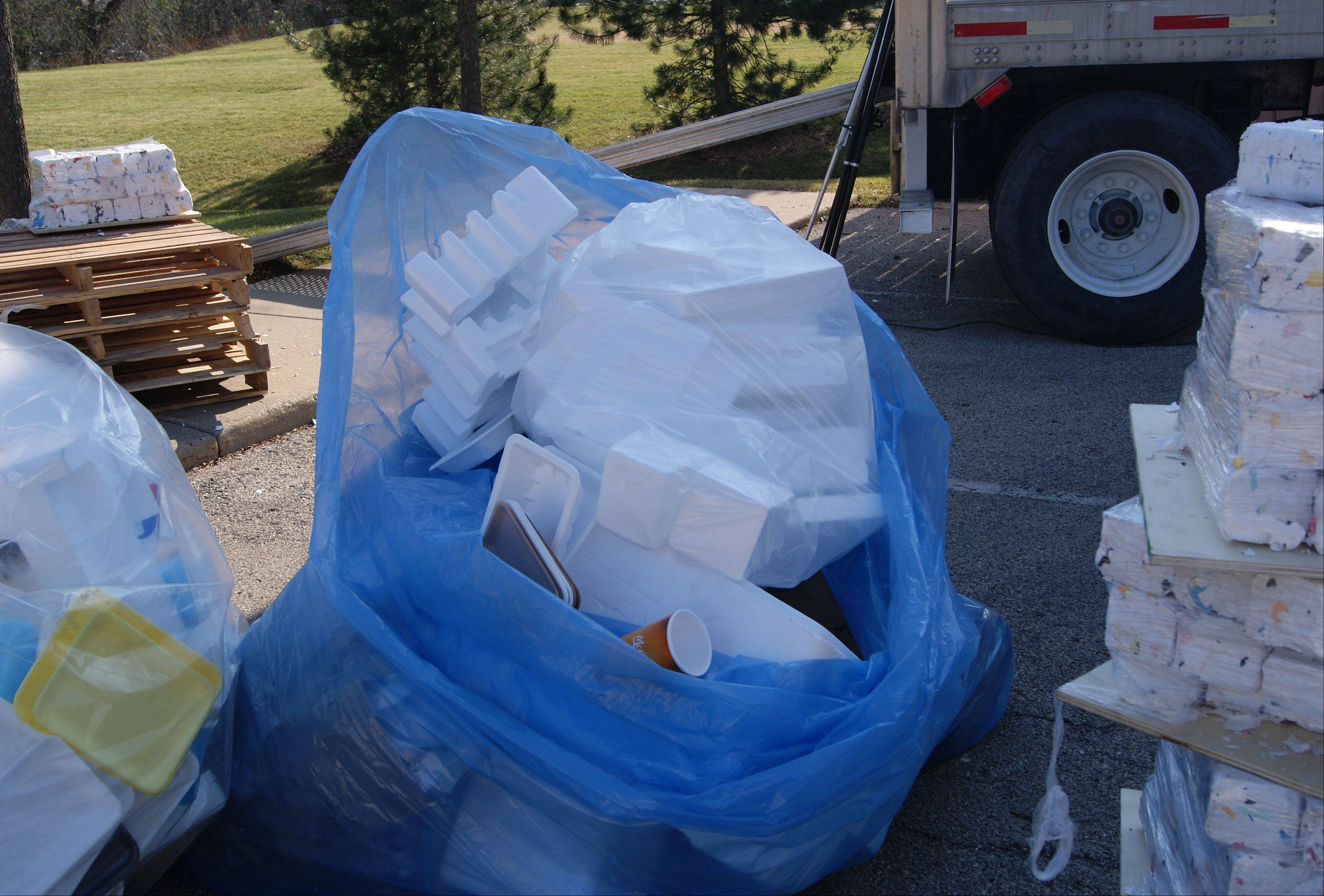 Foam items collected through Highland Park's recycling program.