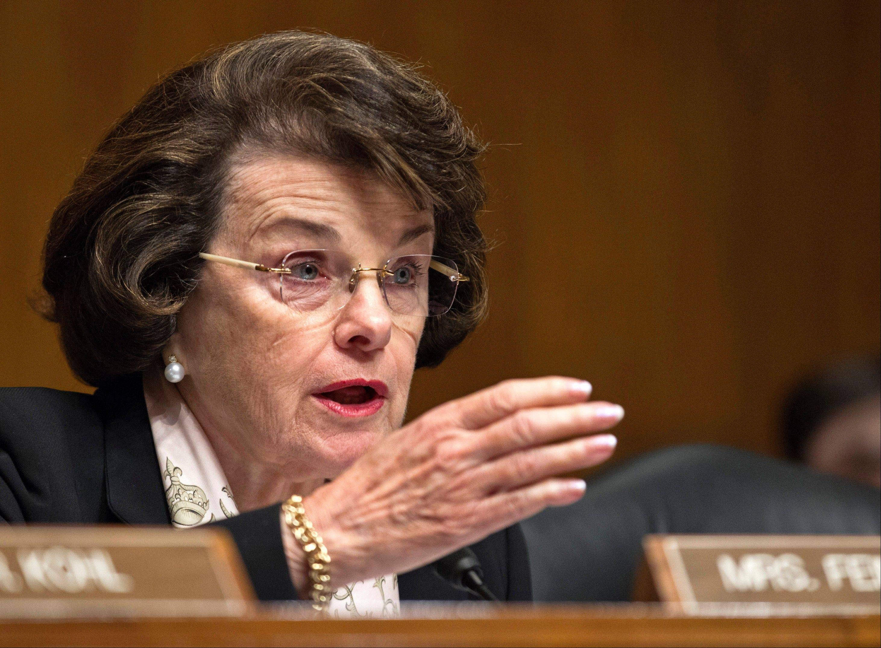 Senate Intelligence Committee Chair, California Democratic Sen. Dianne Feinstein, speaks on Capitol Hill in Washington.