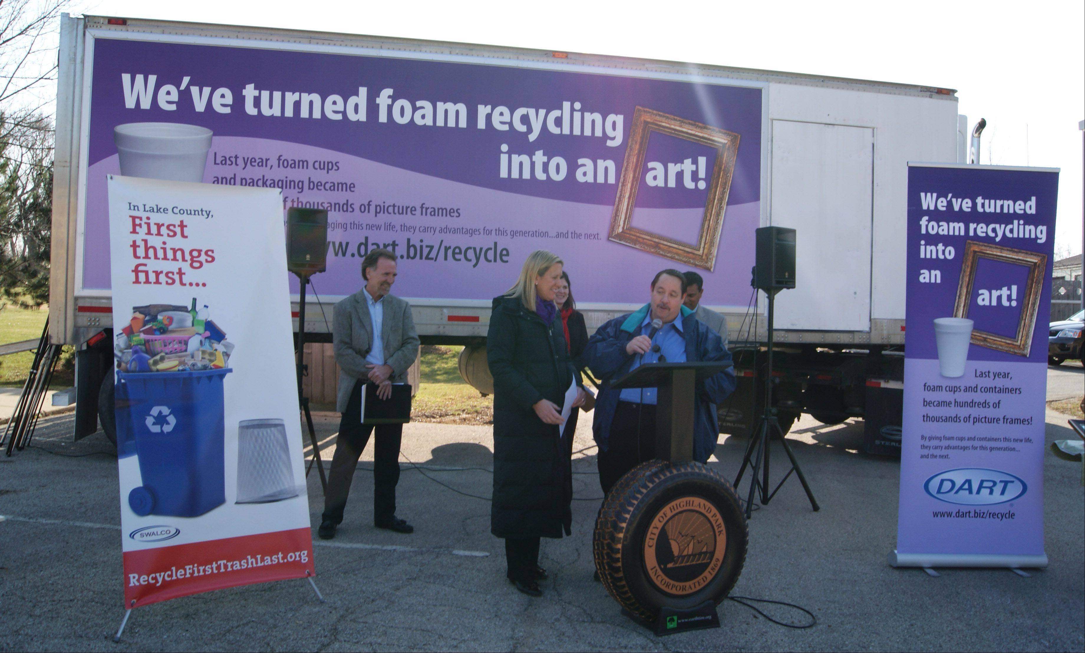 Highland Park city leaders and local partners on Friday announce the results of community foam collection efforts. Since the program launched in 2011, the community has dropped off containers, cups and other products at the city�s collection site resulting in more than 4,417 pounds of foam that's been recycled.