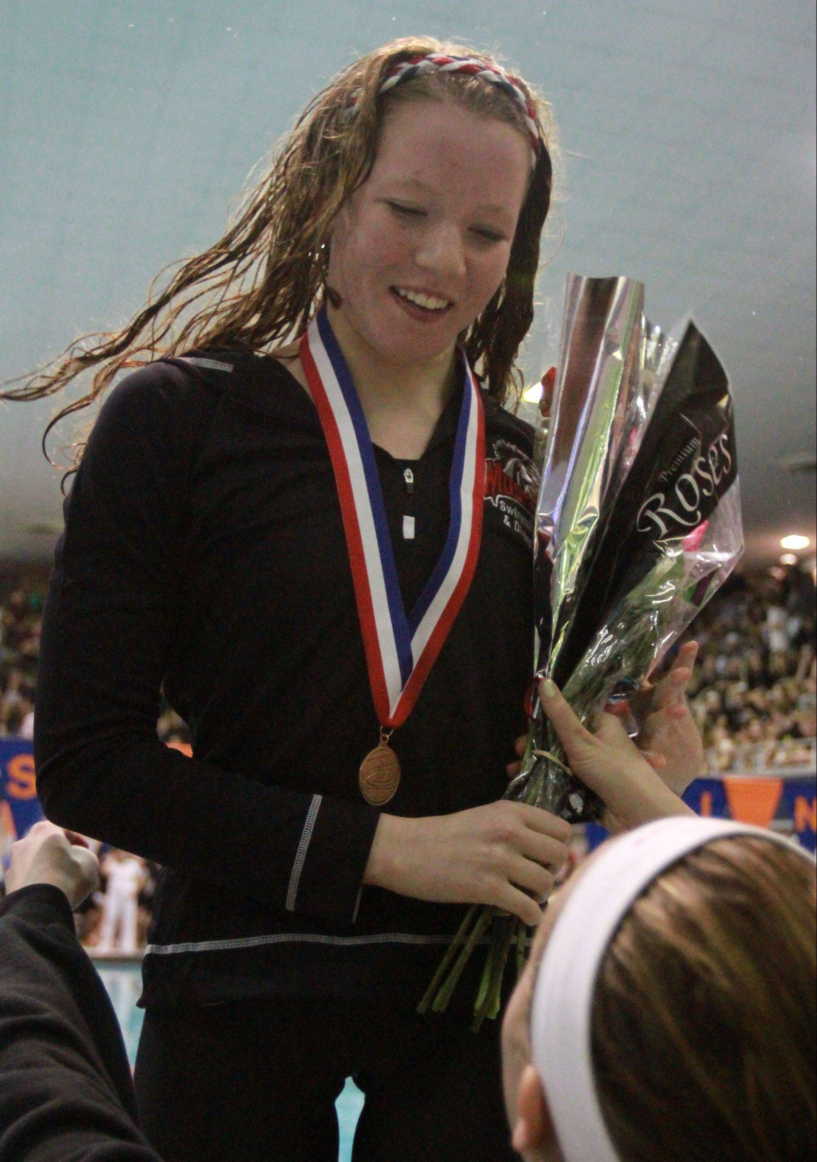 Mundelein's Erin Falconer placed fourth in the 200-yard freestyle at the IHSA state finals in Evanston on Saturday.