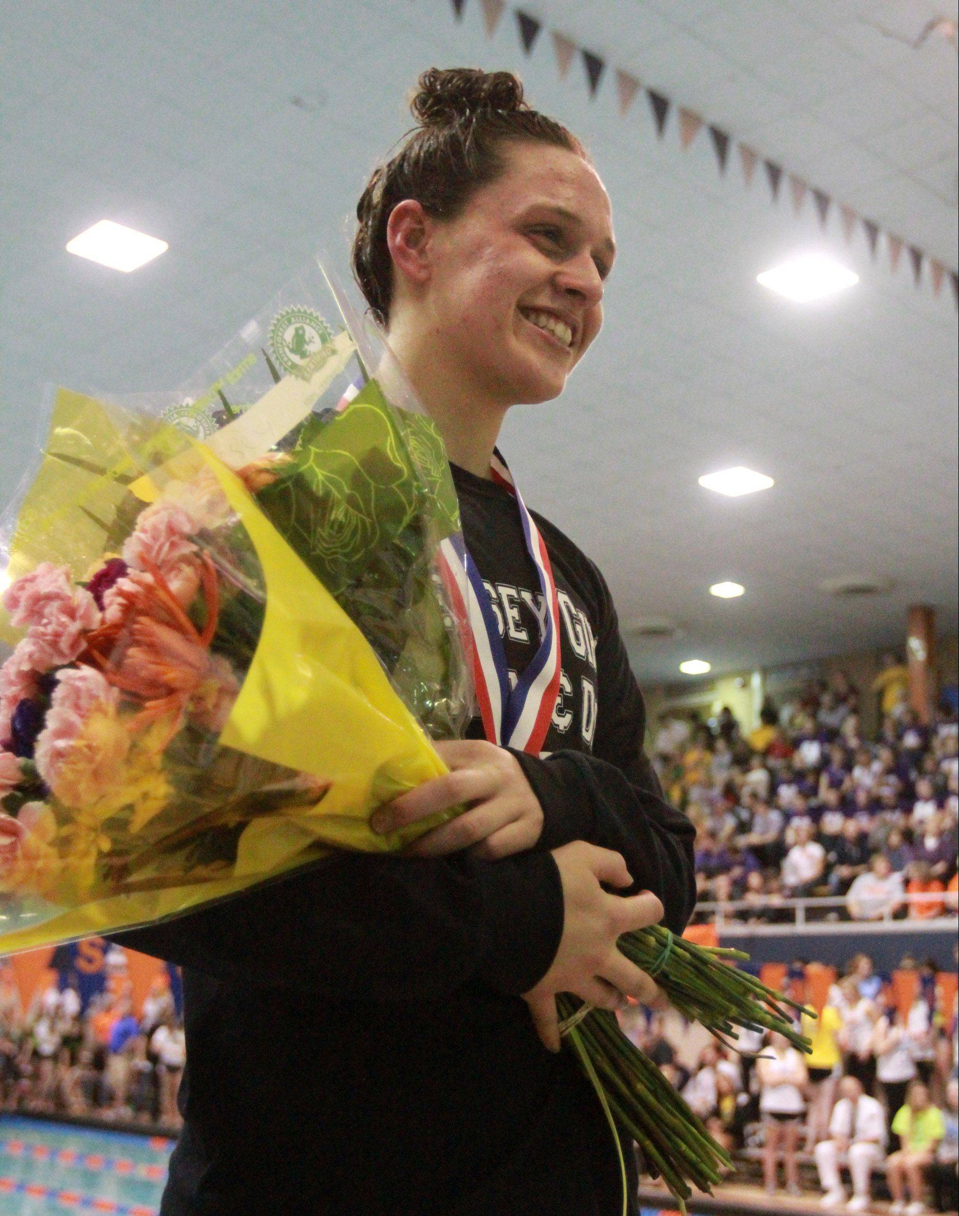 Hersey's Amanda Petro placed third in the 100-yard backstroke and seventh in the 200-freestyle.