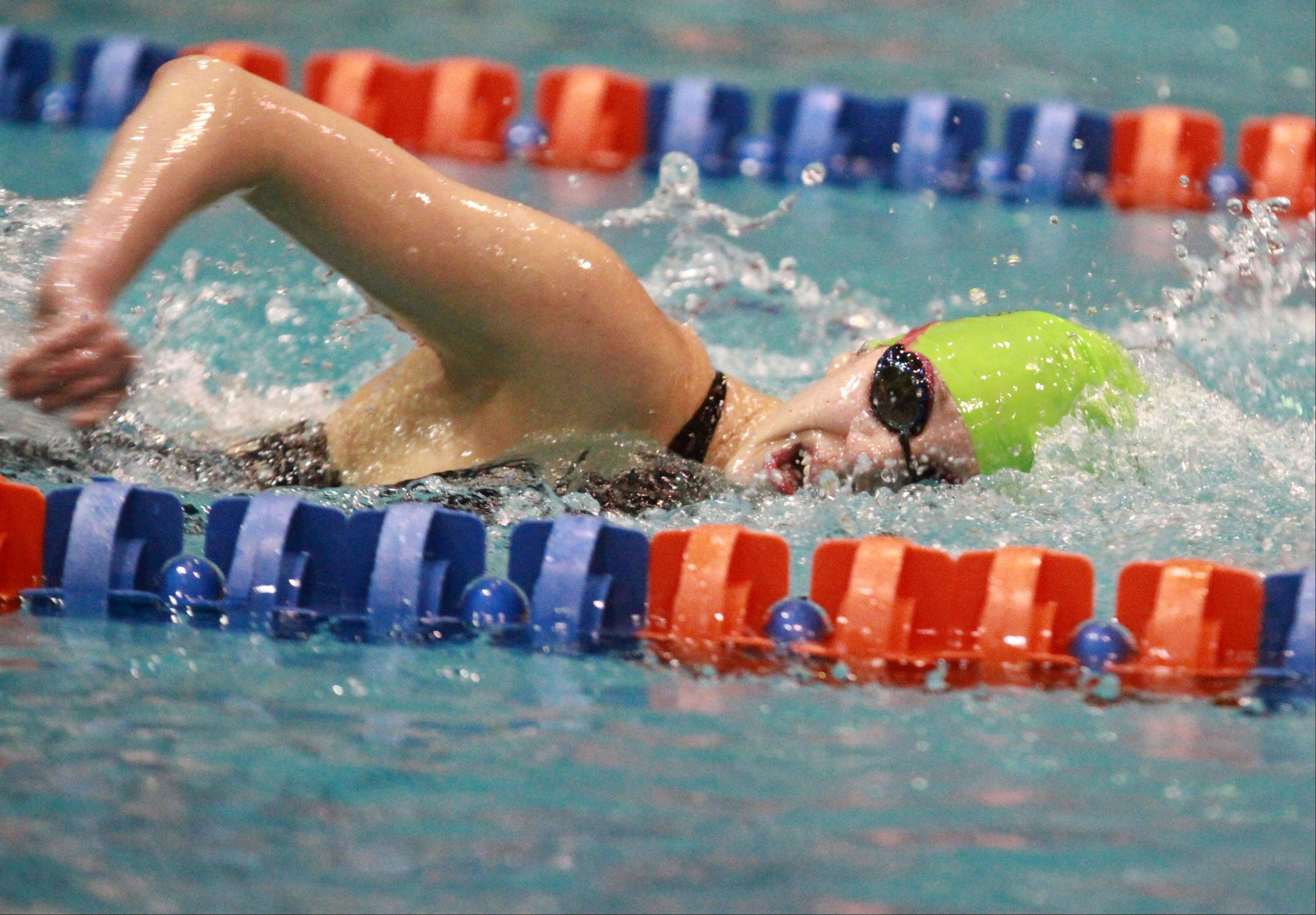 George LeClaire/gleclaire@dailyherald.comSt. Charles East's Mary Snyder placed eleventh in the 200-yard freestyle at the IHSA state championships in Evanston on Saturday.