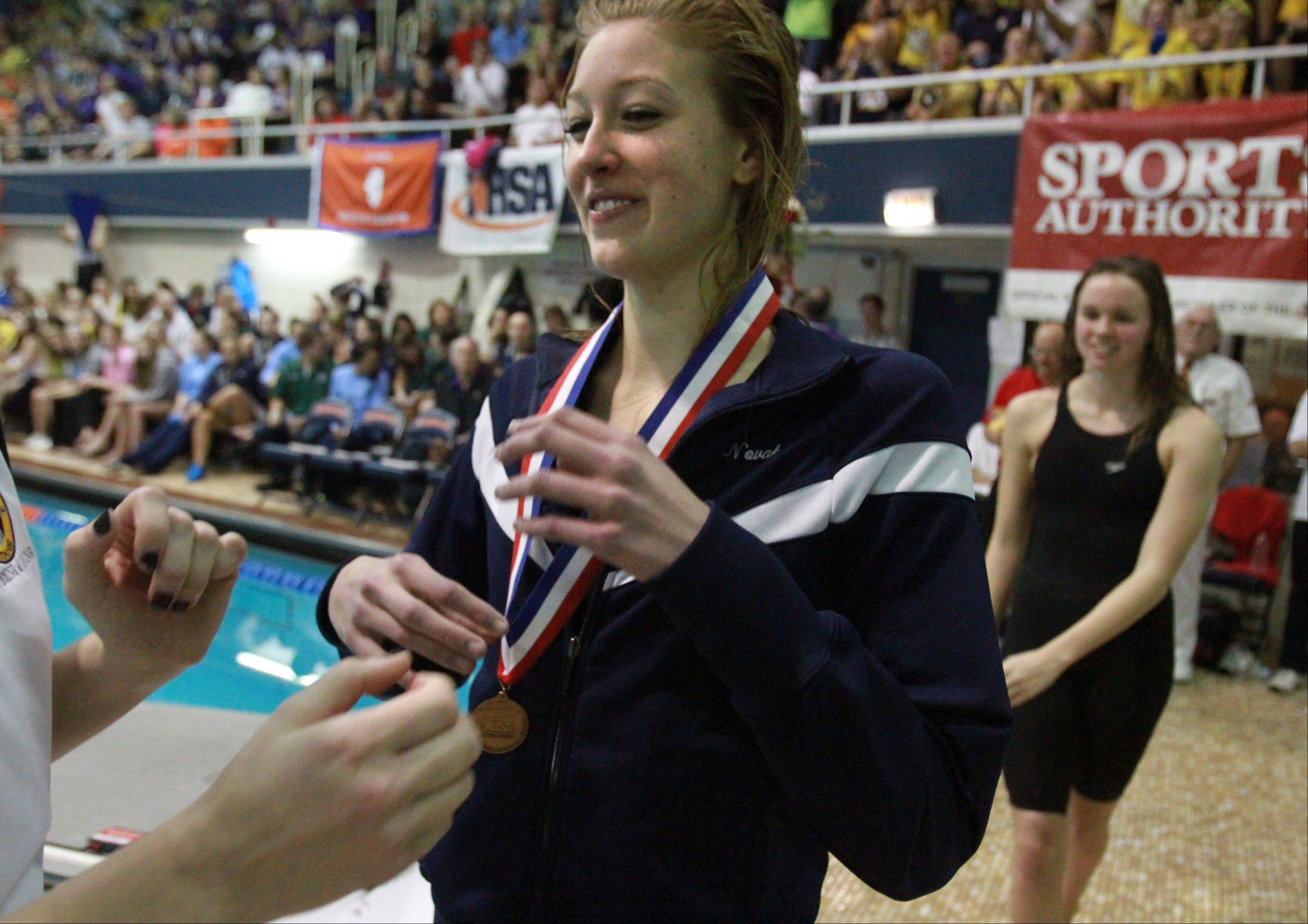 Naperville North's Amy Novak placed fifth in the 200-yard freestyle at the IHSA state championships in Evanston on Saturday.