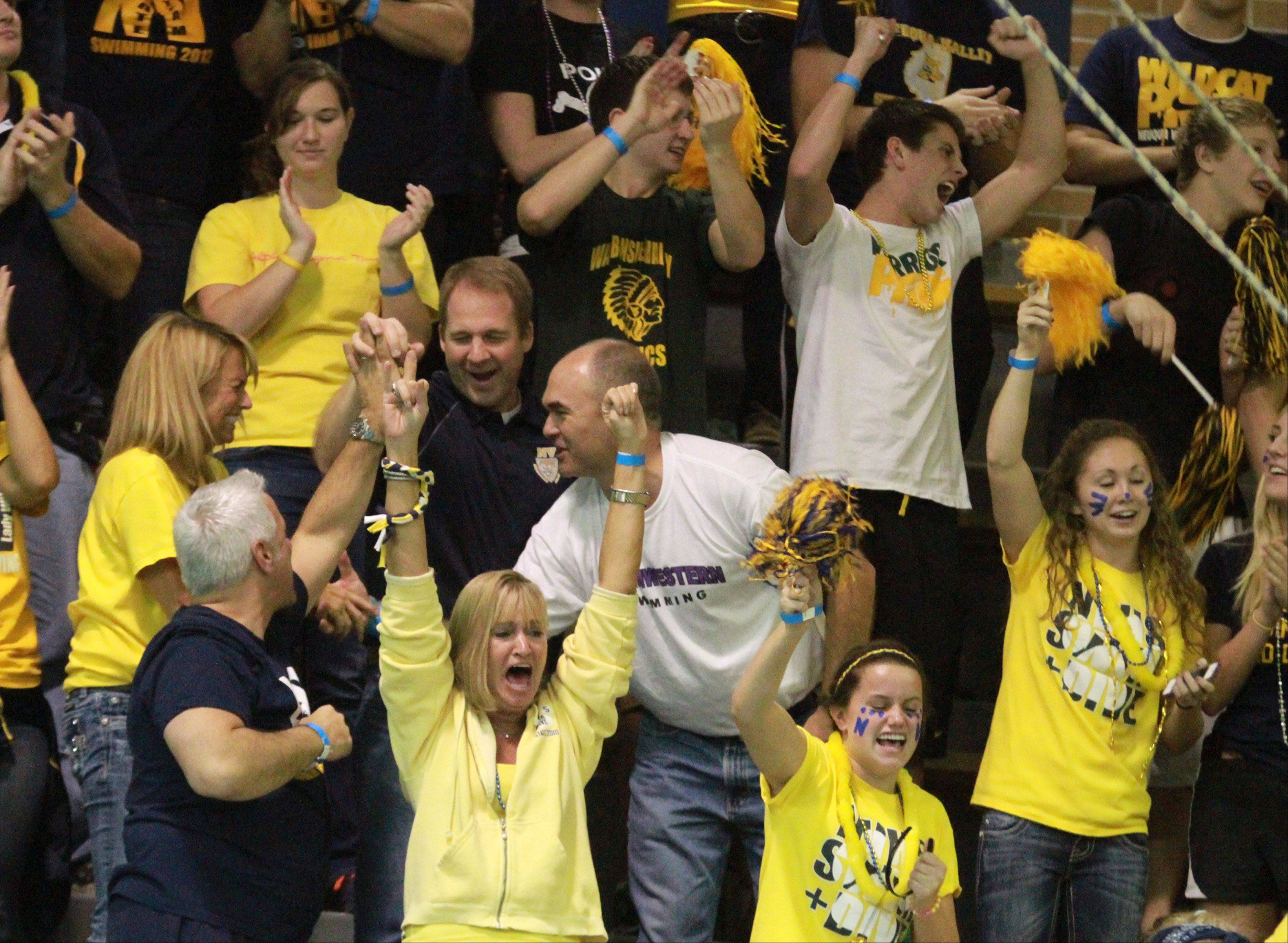Neuqua Valley fans celebrate as Gia Dalesandro placed first in the 200-yard freestyle at the IHSA state championships in Evanston on Saturday.