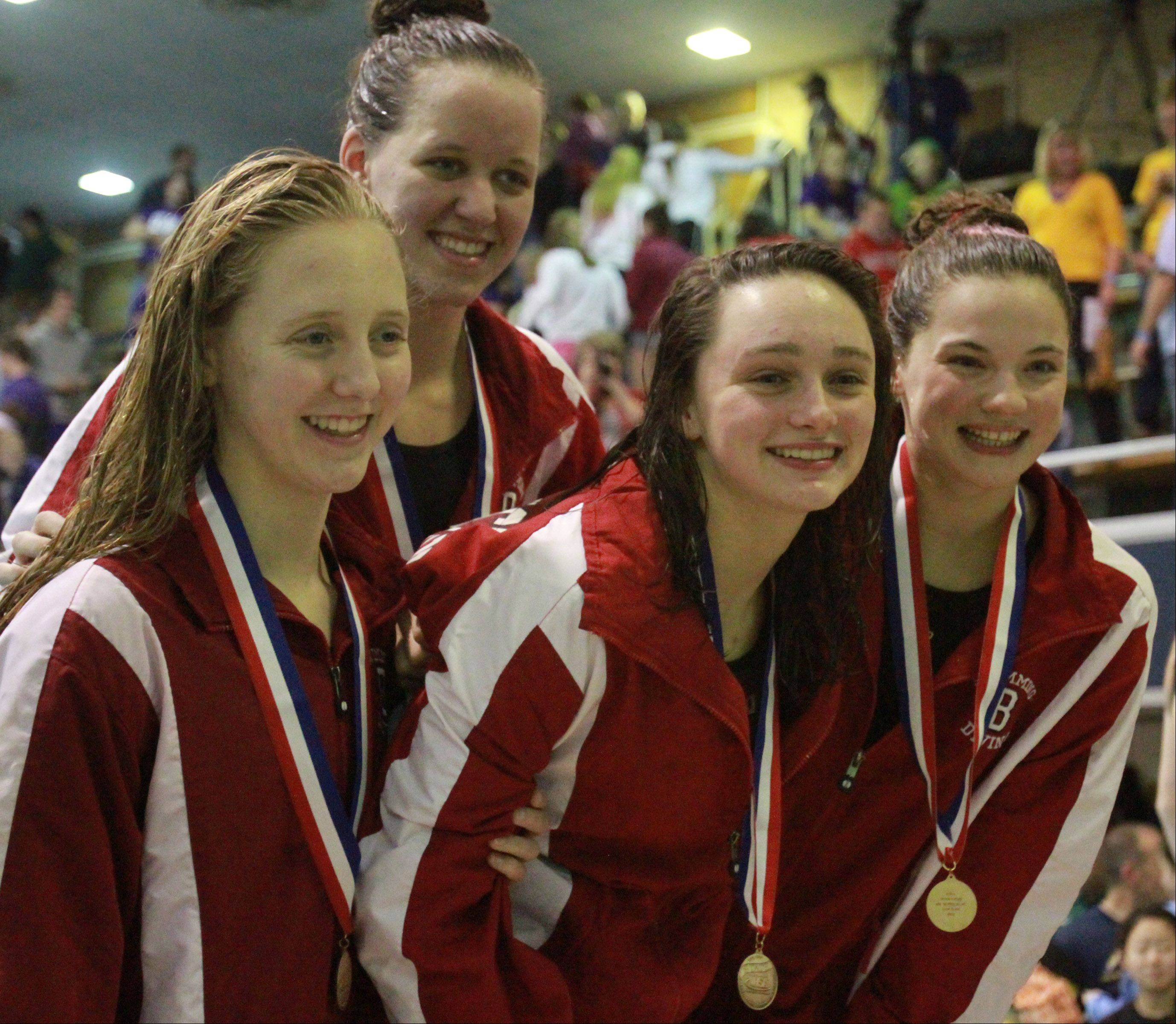 Barrington's Emma Barnett, Mekenna Scheitlin, Kristen Jacobsen, and Kayla Widdowson placed eleventh in the 400-yard freestyle relay at the IHSA state championships in Evanston on Saturday.