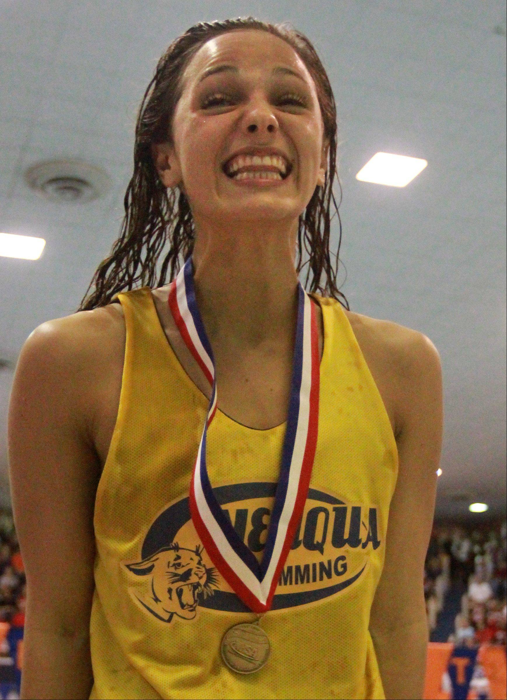 Neuqua Valley's Gia Dalesandro placed first in the 200-yard freestyle at the IHSA state championships in Evanston on Saturday.