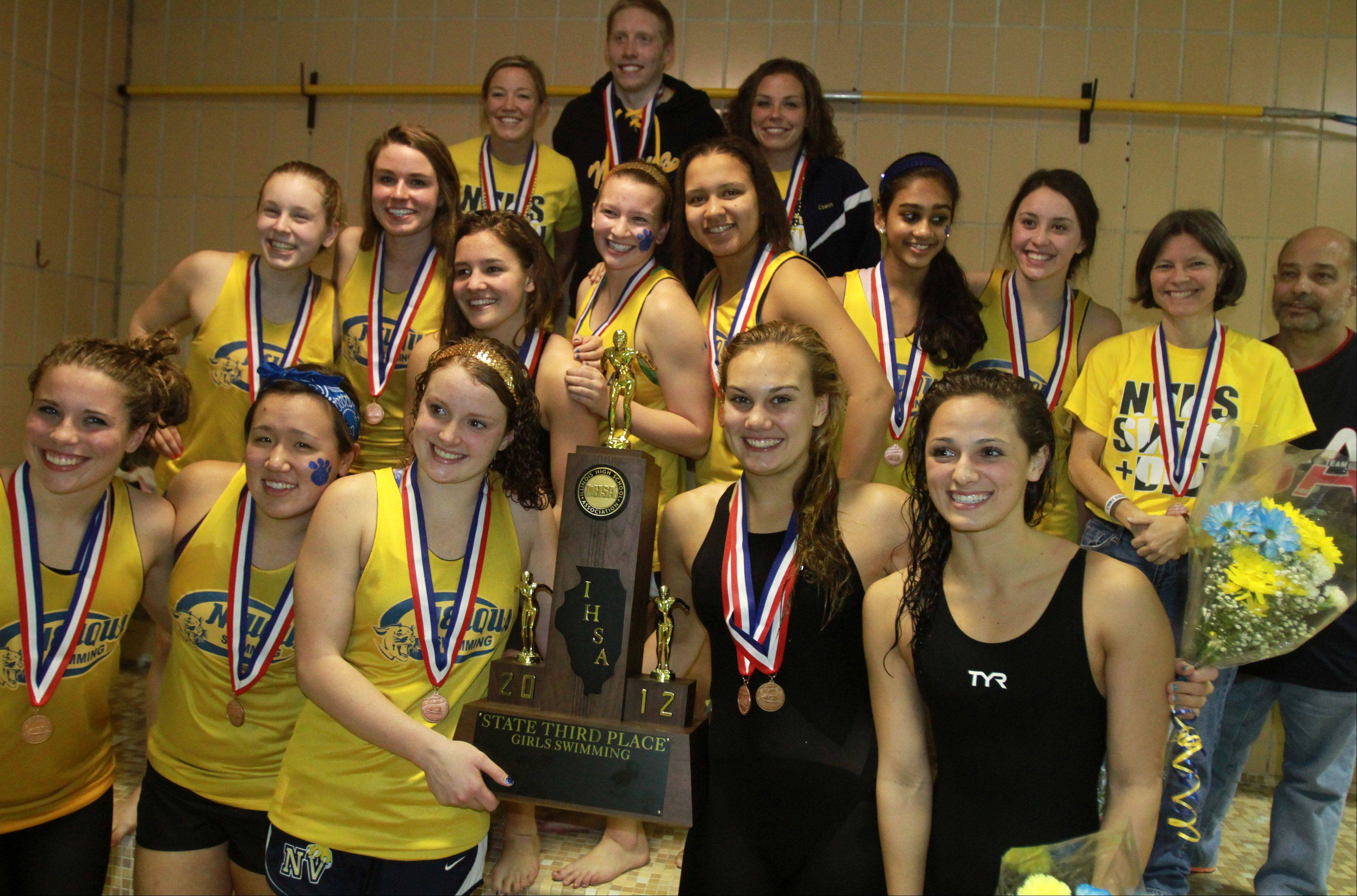 Neuqua Valley celebrates placing third at the IHSA state championships in Evanston on Saturday.