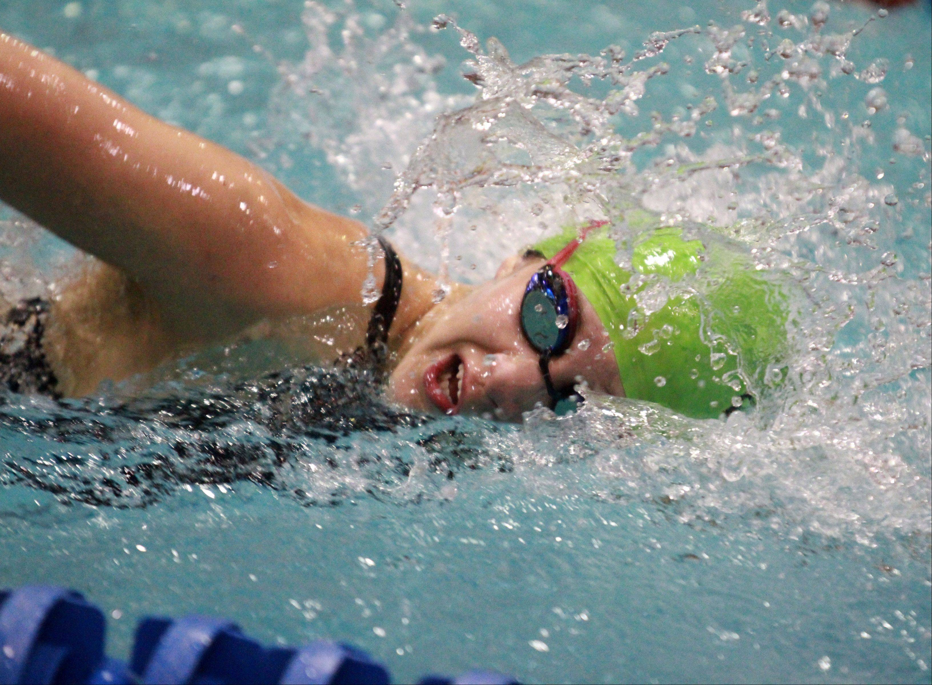 Waubonsie Valley's Alyssa Gialamas placed first in the athletes with disabilities 50-yard freestyle at the IHSA state championships in Evanston on Saturday.
