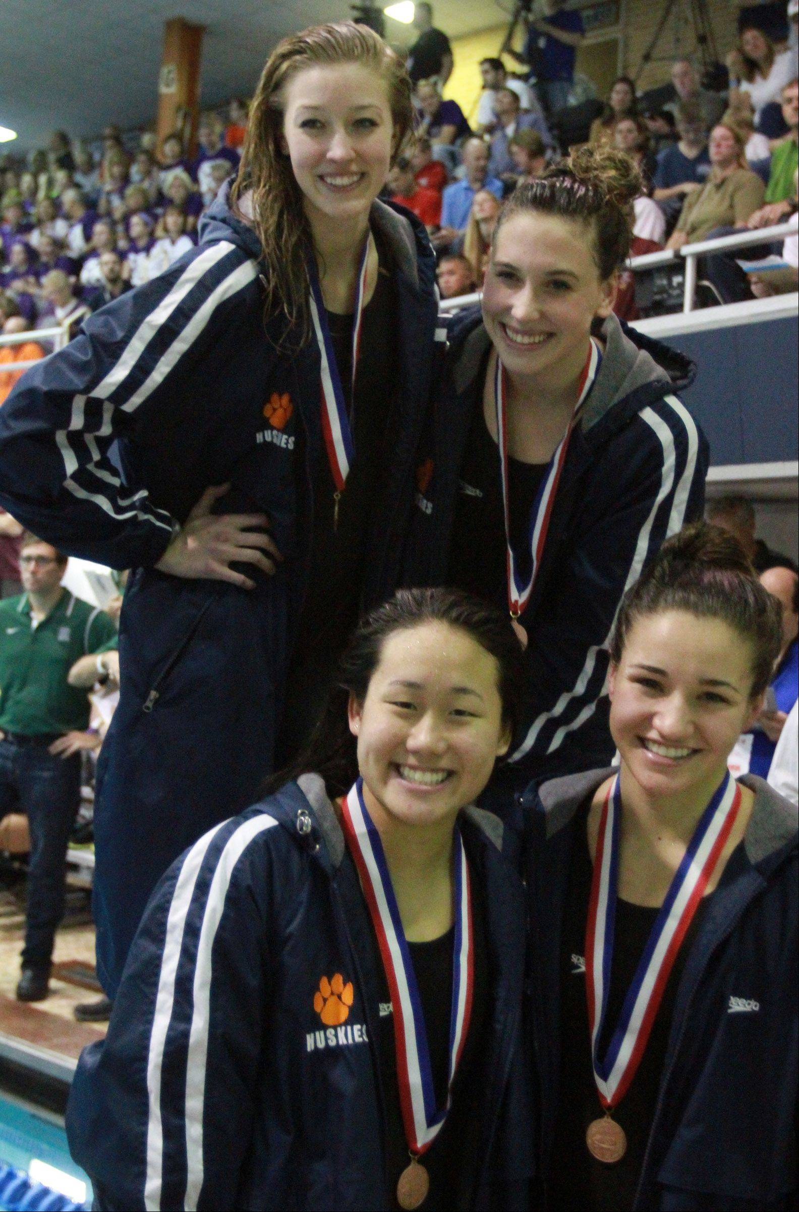 Naperville North's Michelle Law, Rachel Prorok, Anna Williams, and Amy Novak placed sixth in the 200-yard medley relay at the IHSA state championships in Evanston on Saturday.
