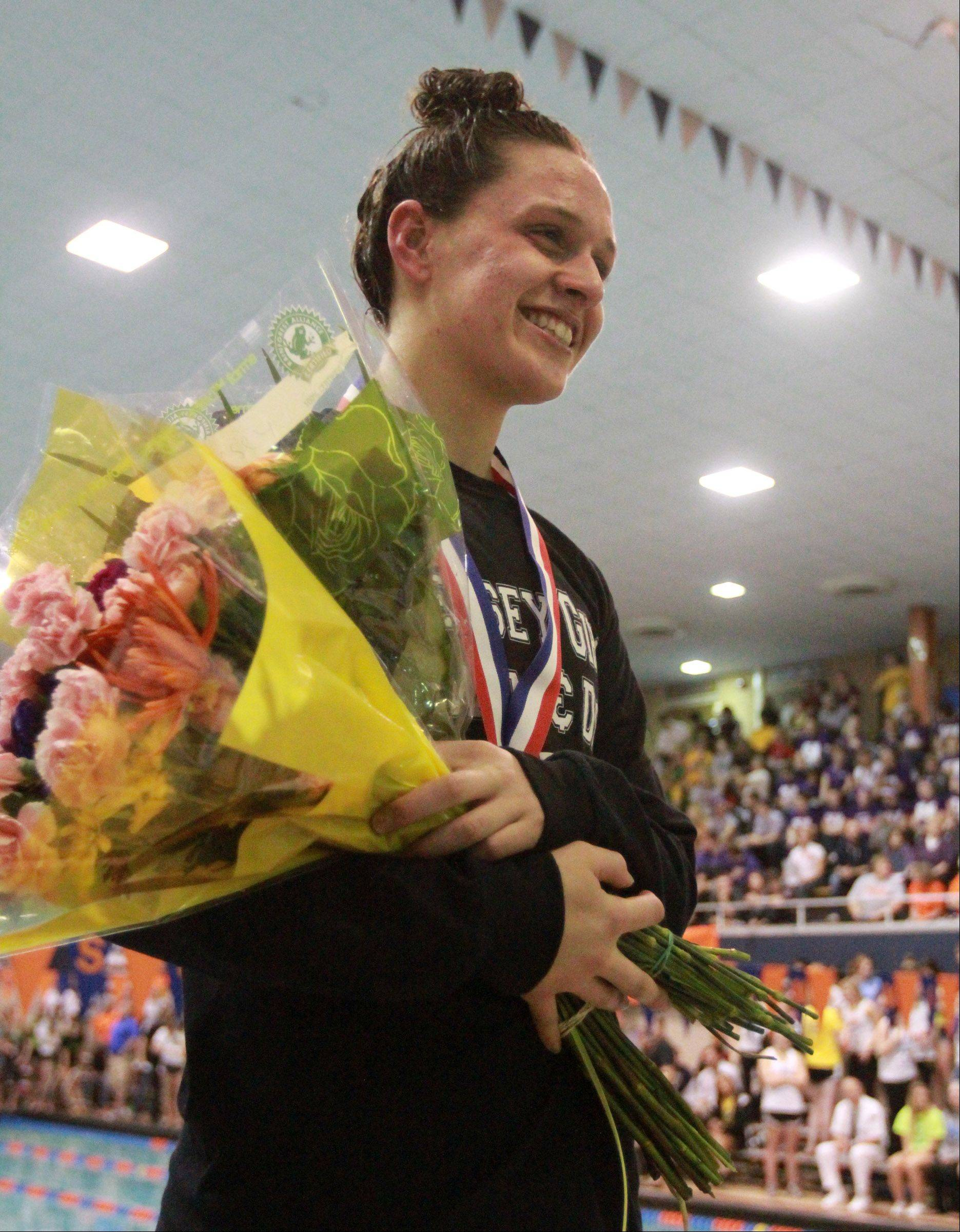 Hersey's Amanda Petro placed seventh in the 200-yard freestyle at the IHSA state championships in Evanston on Saturday.