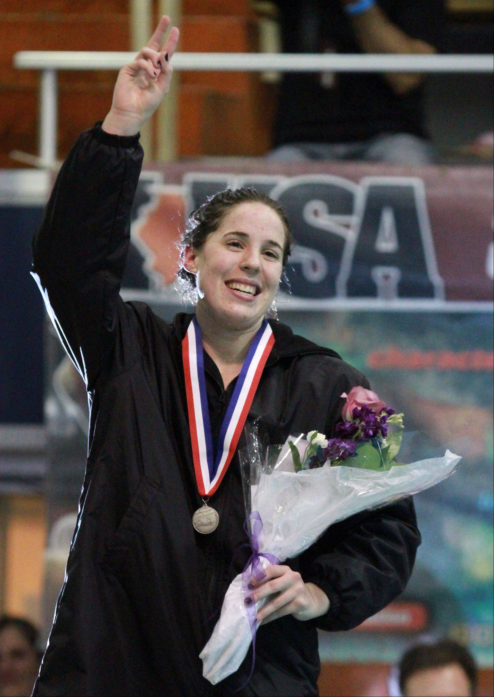 Downers Grove North's placed second in the 100-yard backstroke at the IHSA state championships in Evanston on Saturday.