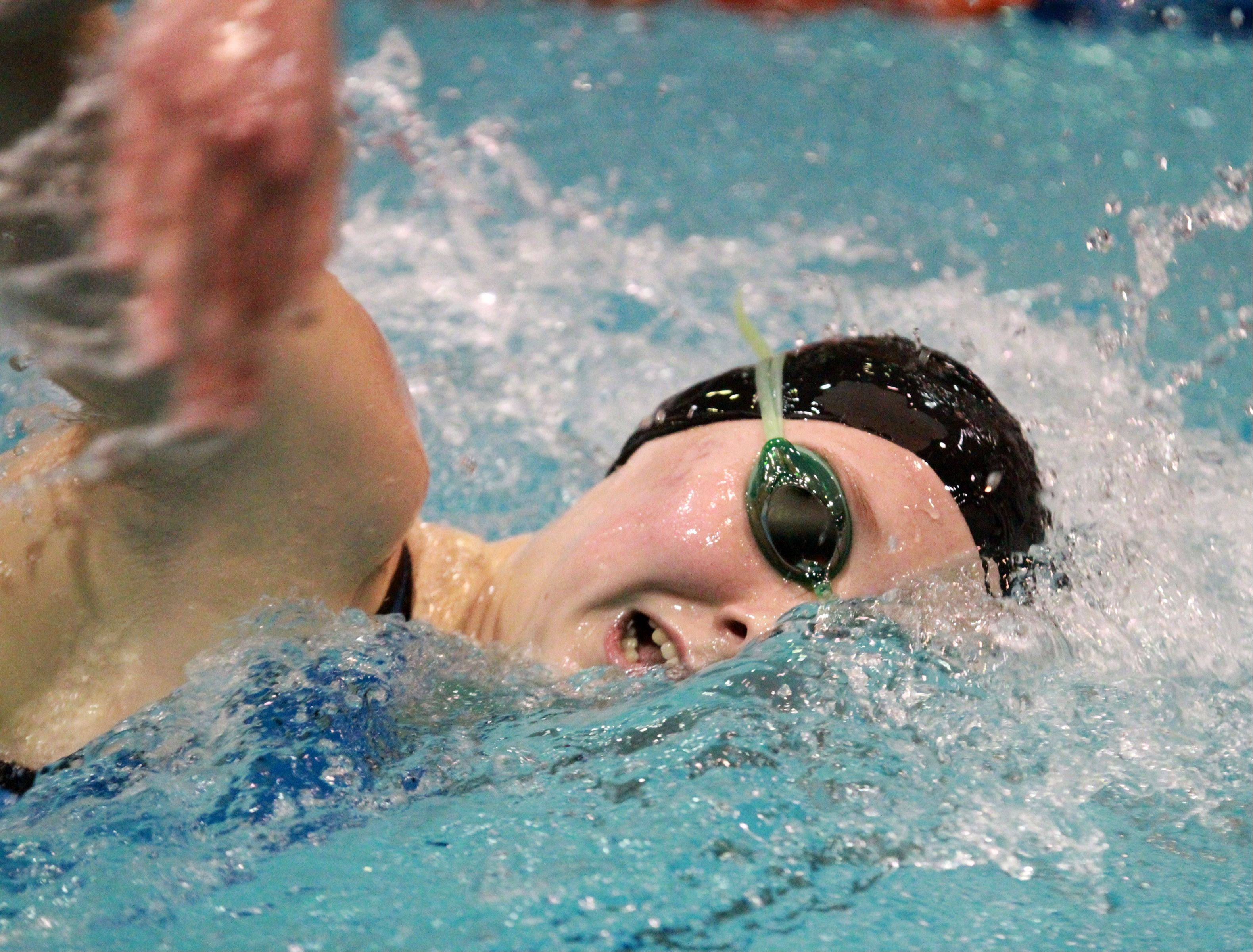 Barrington's Kristen Jacobsen placed fist in the 500-yard freestyle at the IHSA state championships in Evanston on Saturday.