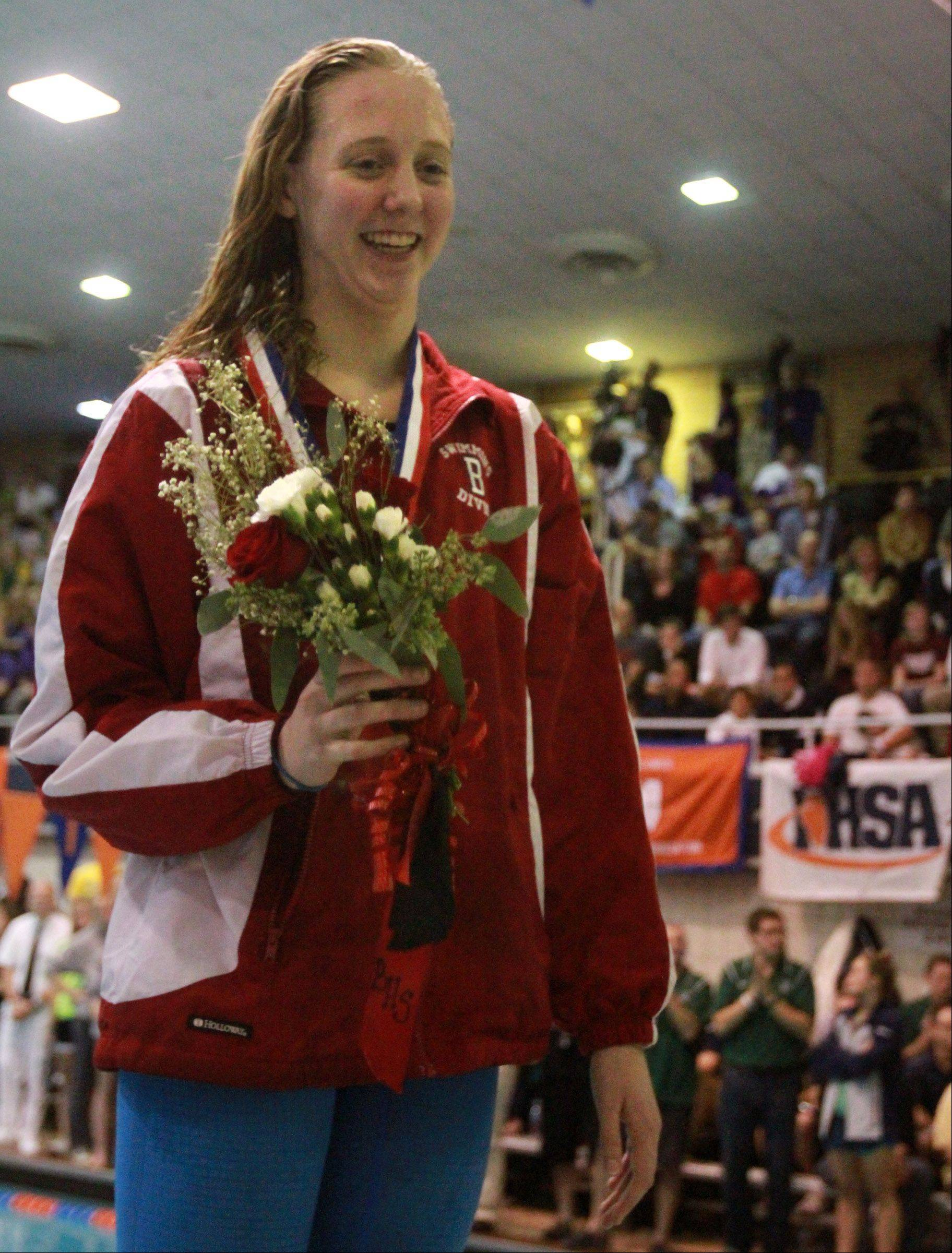 Barrington's Kirsten Jacobsen placed third in the 200-yard freestyle at the IHSA state championships in Evanston on Saturday.