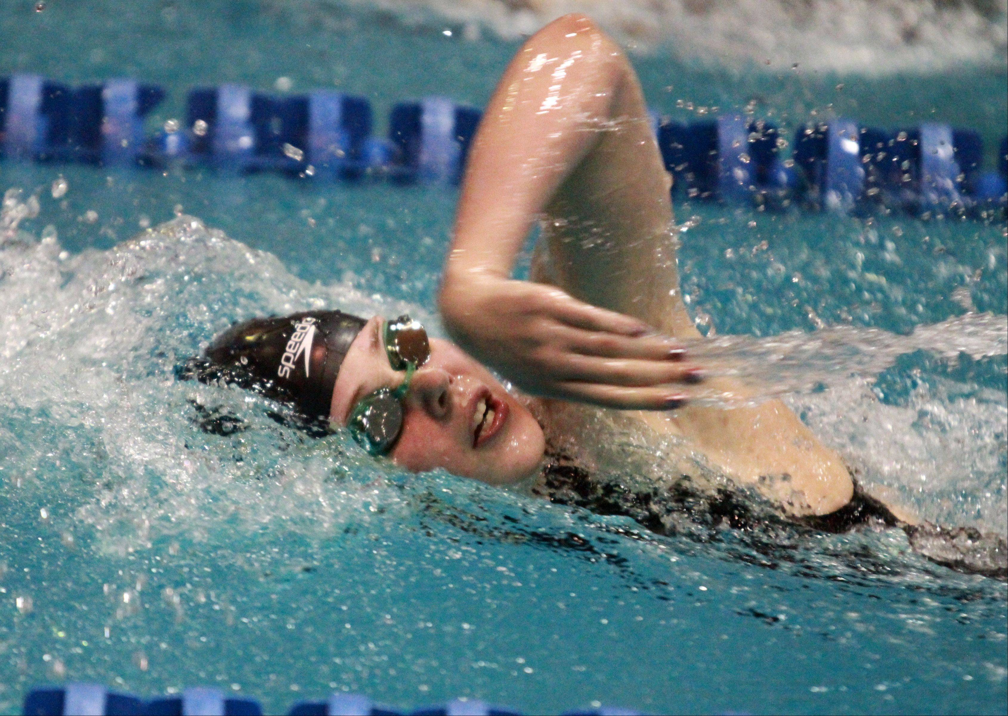 "Stevenson""s Madison Blaydes placed eleventh in the 500-yard freestyle at the IHSA state championships in Evanston on Saturday."