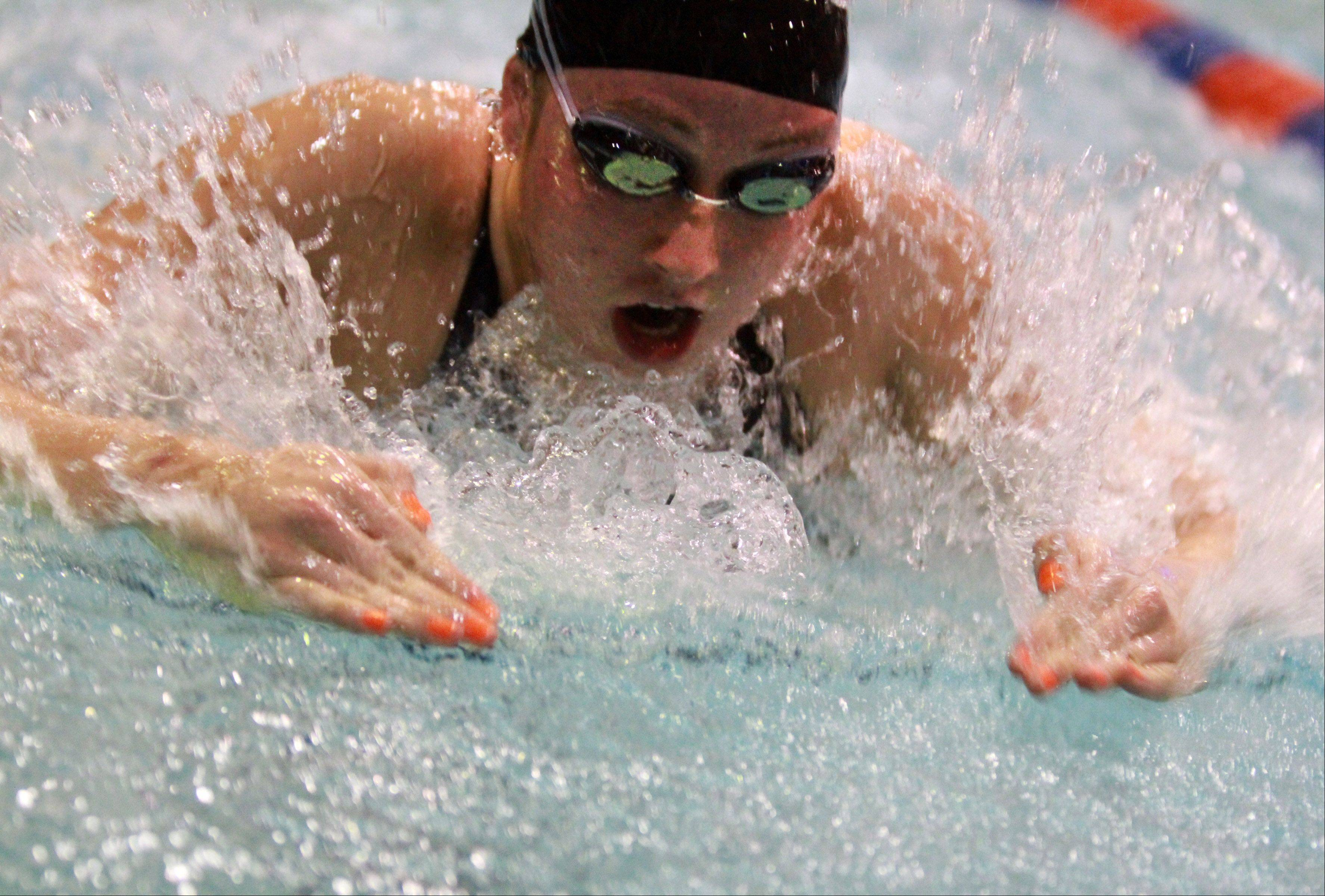 St. Charles East Nicole Chapko placed sixth in 100-yard breaststroke at the IHSA state championships in Evanston on Saturday.