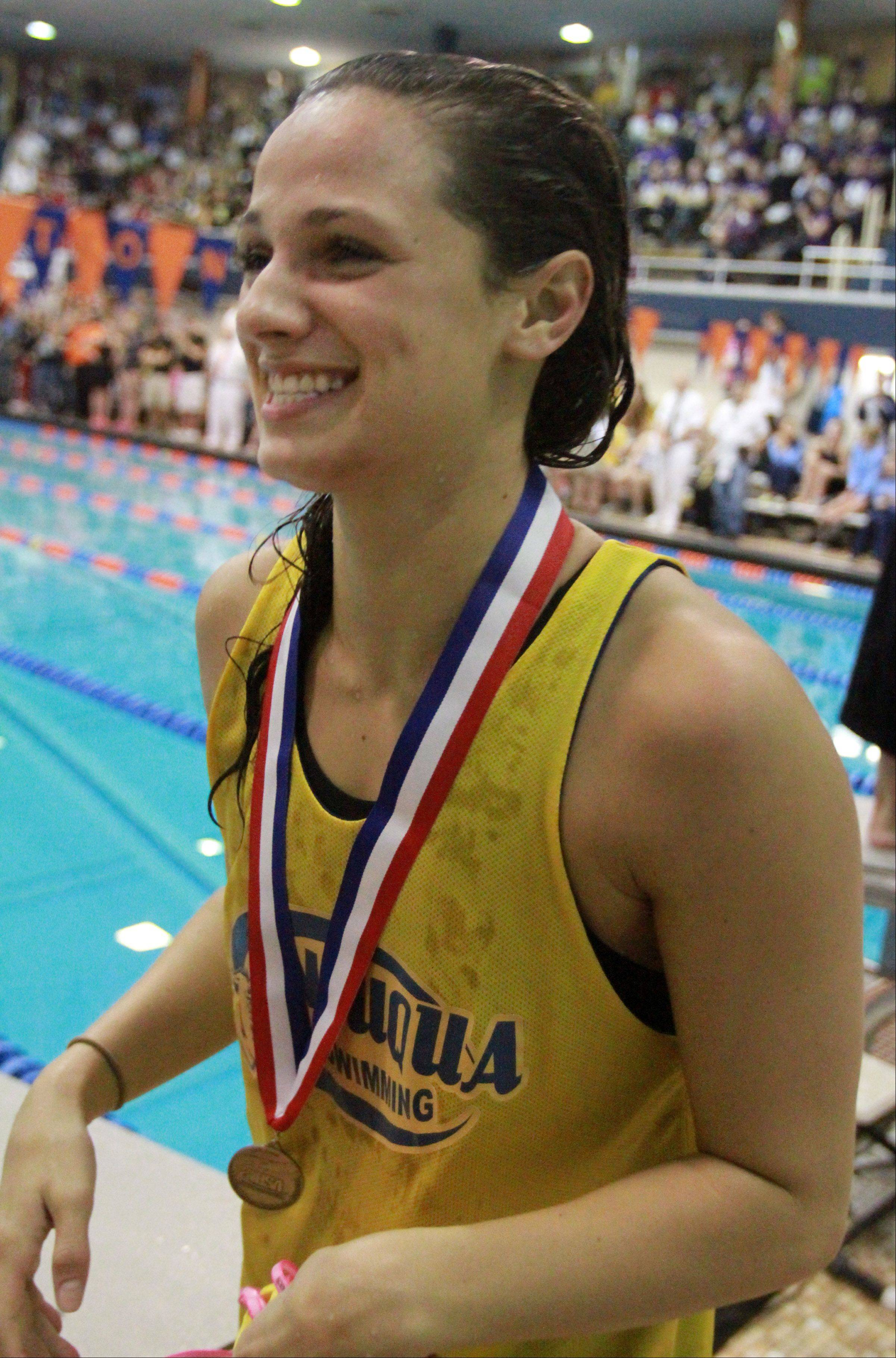 Neuqua Valley�s Gia Dalesandro placed first in the 100-yard butterfly at the IHSA state championships in Evanston on Saturday.