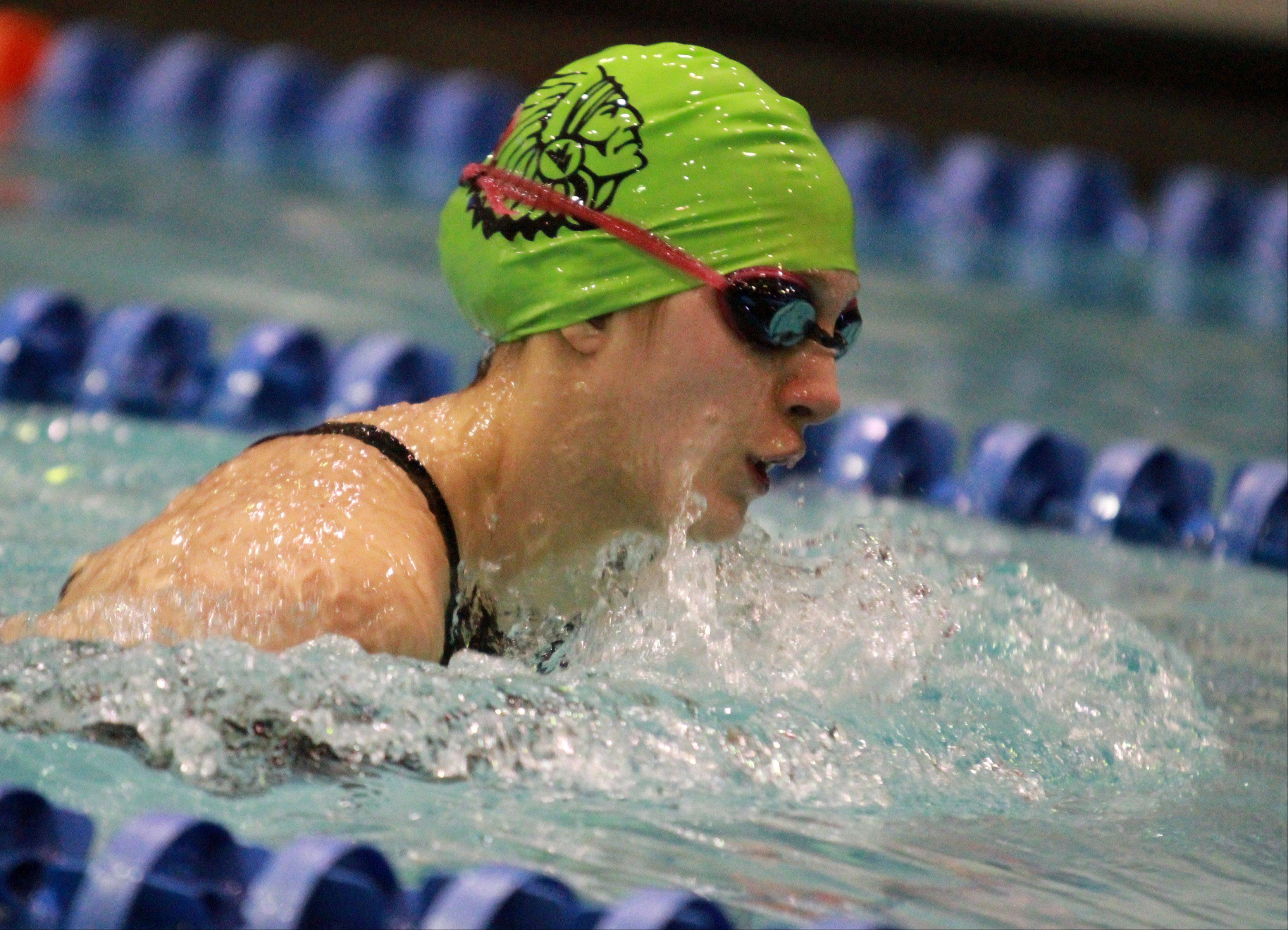 Waubonsie Valley's Alyssa Gialamas competes in the athletes with disabilities 100-yard breaststroke and placing second in the class A division of the race at the IHSA state championships in Evanston on Saturday.